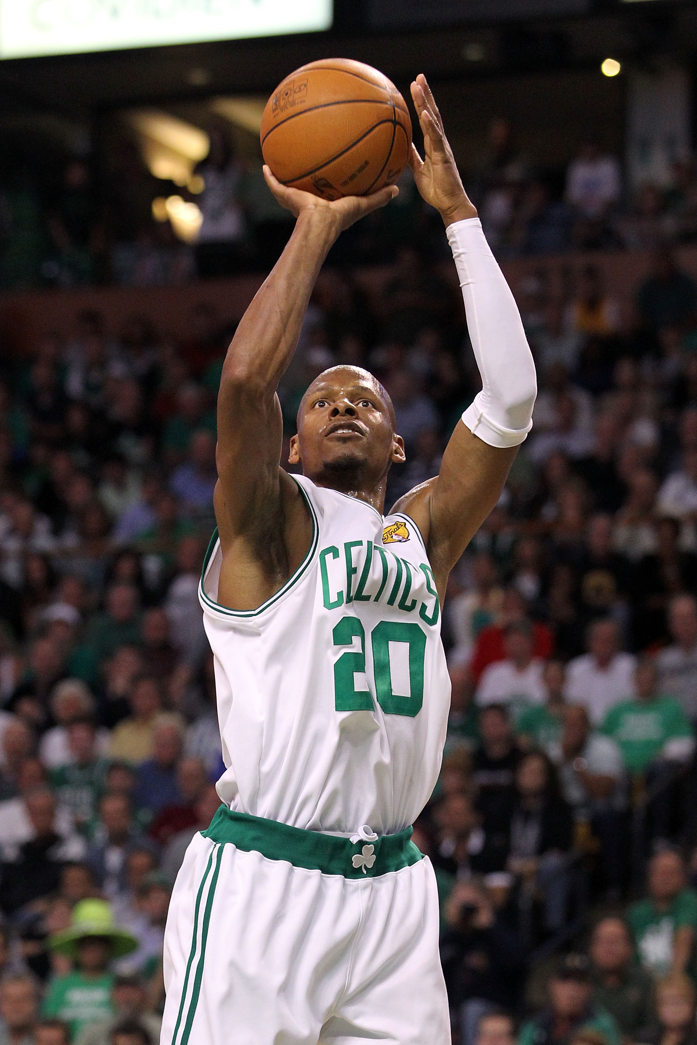 BOSTON - JUNE 13:  Ray Allen #20 of the Boston Celtics shoots against the Los Angeles Lakers during Game Five of the 2010 NBA Finals on June 13, 2010 at TD Garden in Boston, Massachusetts. The Celtics won 92-86. NOTE TO USER: User expressly acknowledges a