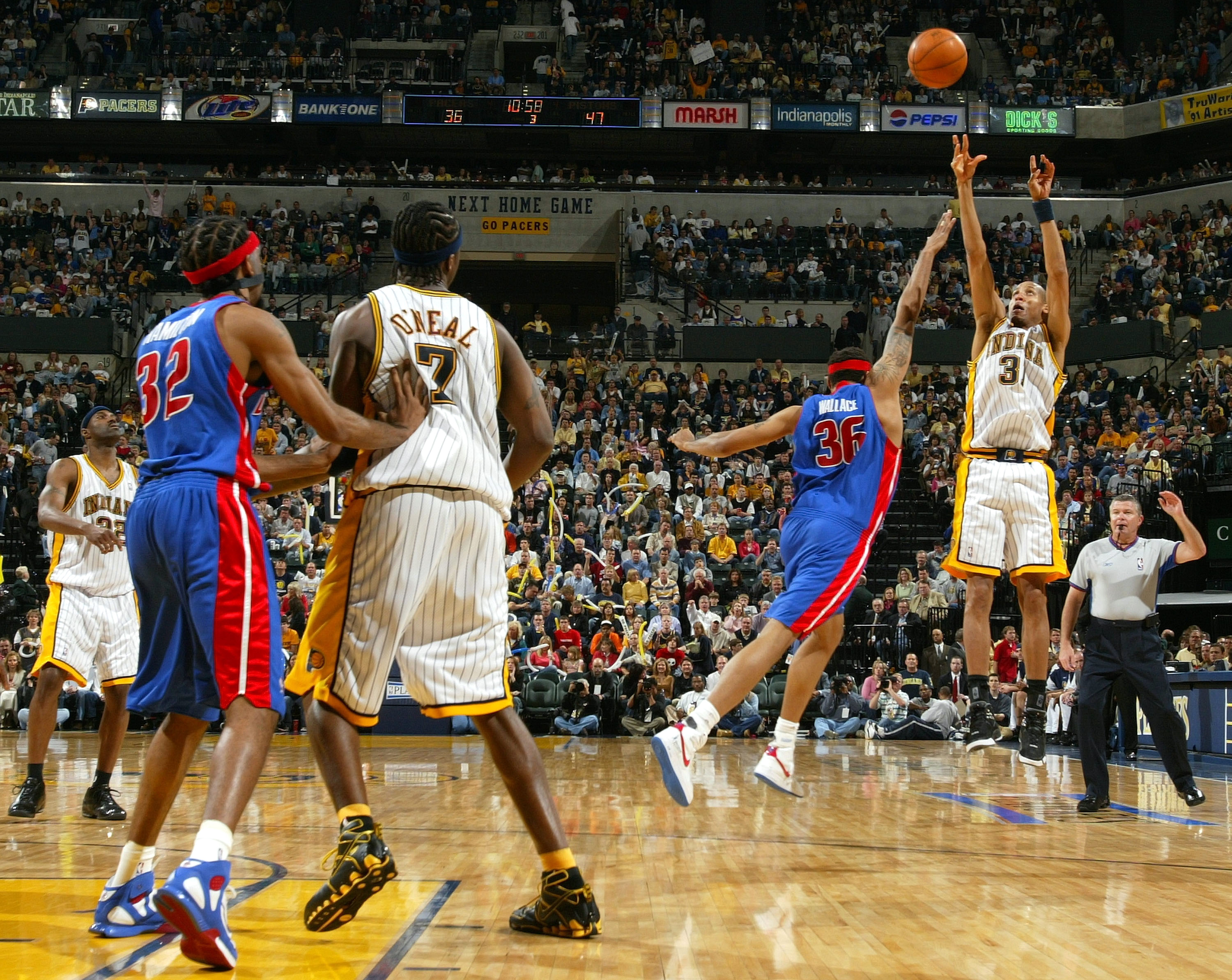 INDIANAPOLIS - MAY 15: Reggie Miller #31 of the the Indiana Pacers tries to get a three point shot off as Rasheed Wallace #36 of the Detroit Pistons defends in Game four of the Eastern Conference Semifinals during the 2005 NBA Playoffs on May 15, 2005 at