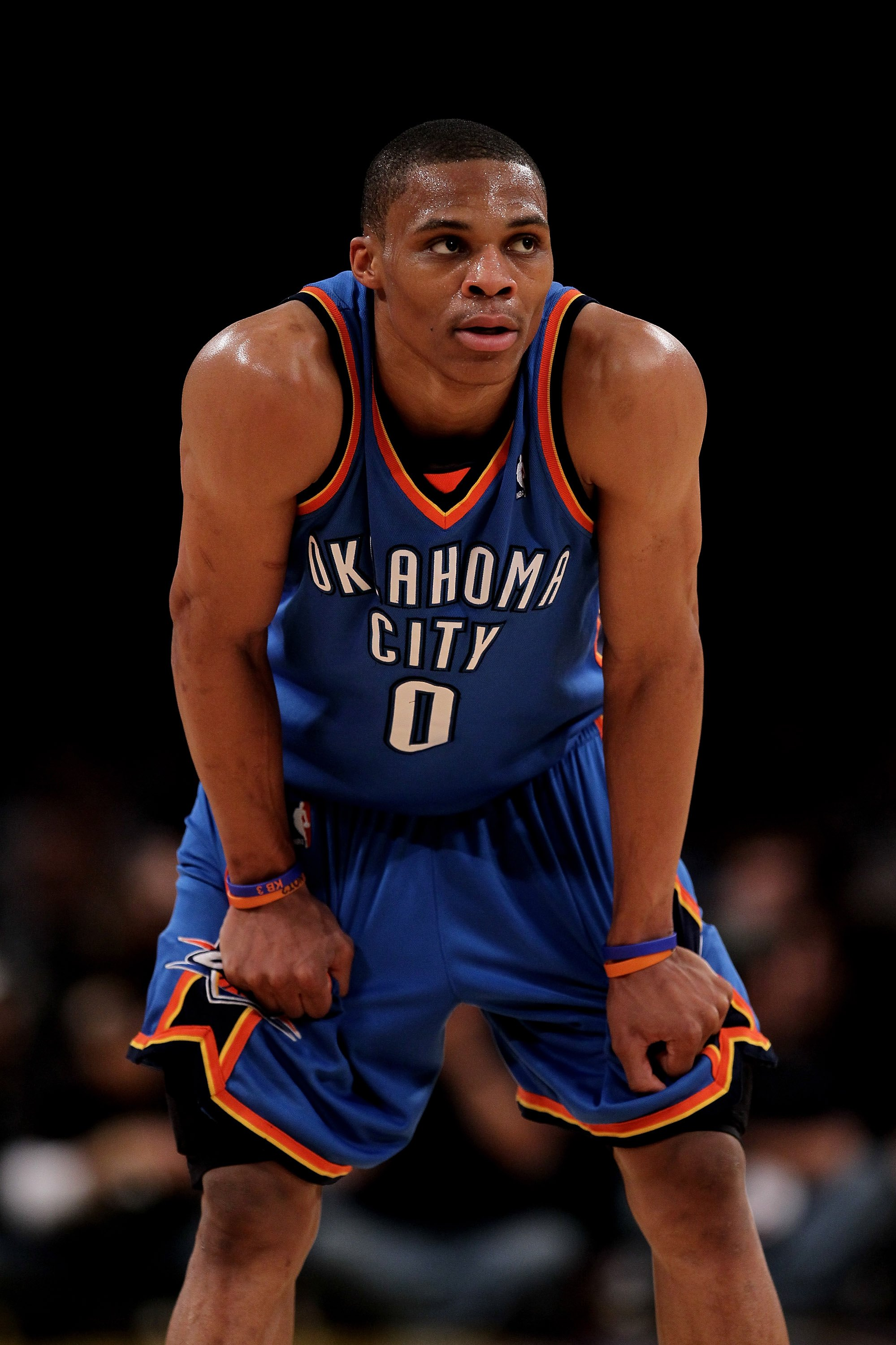 LOS ANGELES - APRIL 20: Russell Westbrook #0 of the Oklahoma City Thunder stands in the game against the Los Angeles Lakers during  Game Two of the Western Conference Quarterfinals of the 2010 NBA Playoffs on April 20, 2010 at Staples Center in Los Angele