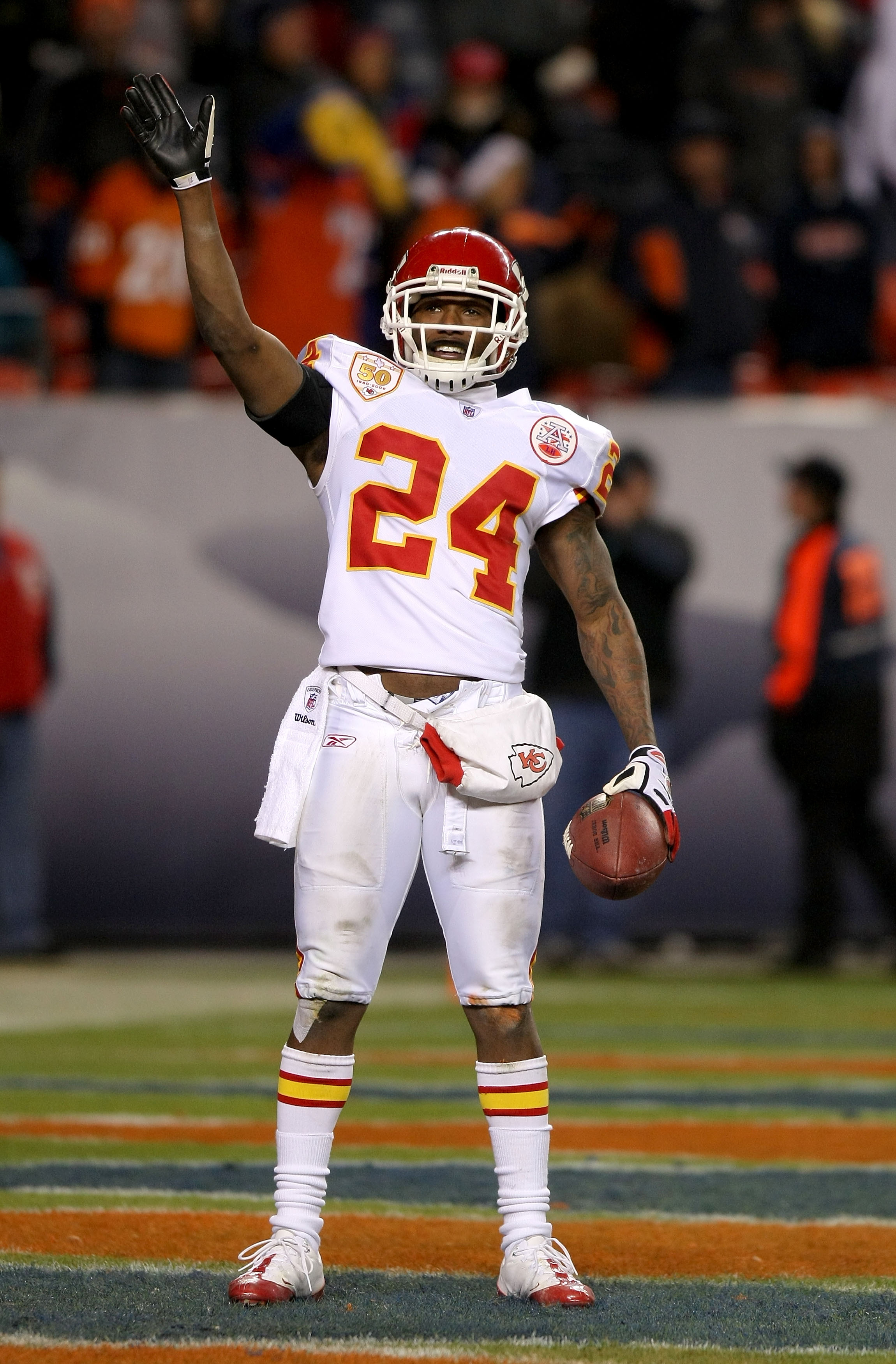 DENVER - JANUARY 03: Brandon Flowers #24 of the Kansas City Chiefs waves to the fans after intercepting a pass which was intended for Jabar Gaffney #10 of the Broncos during the fourth quarter at Invesco Field at Mile High on January 3, 2010 in Denver, Co