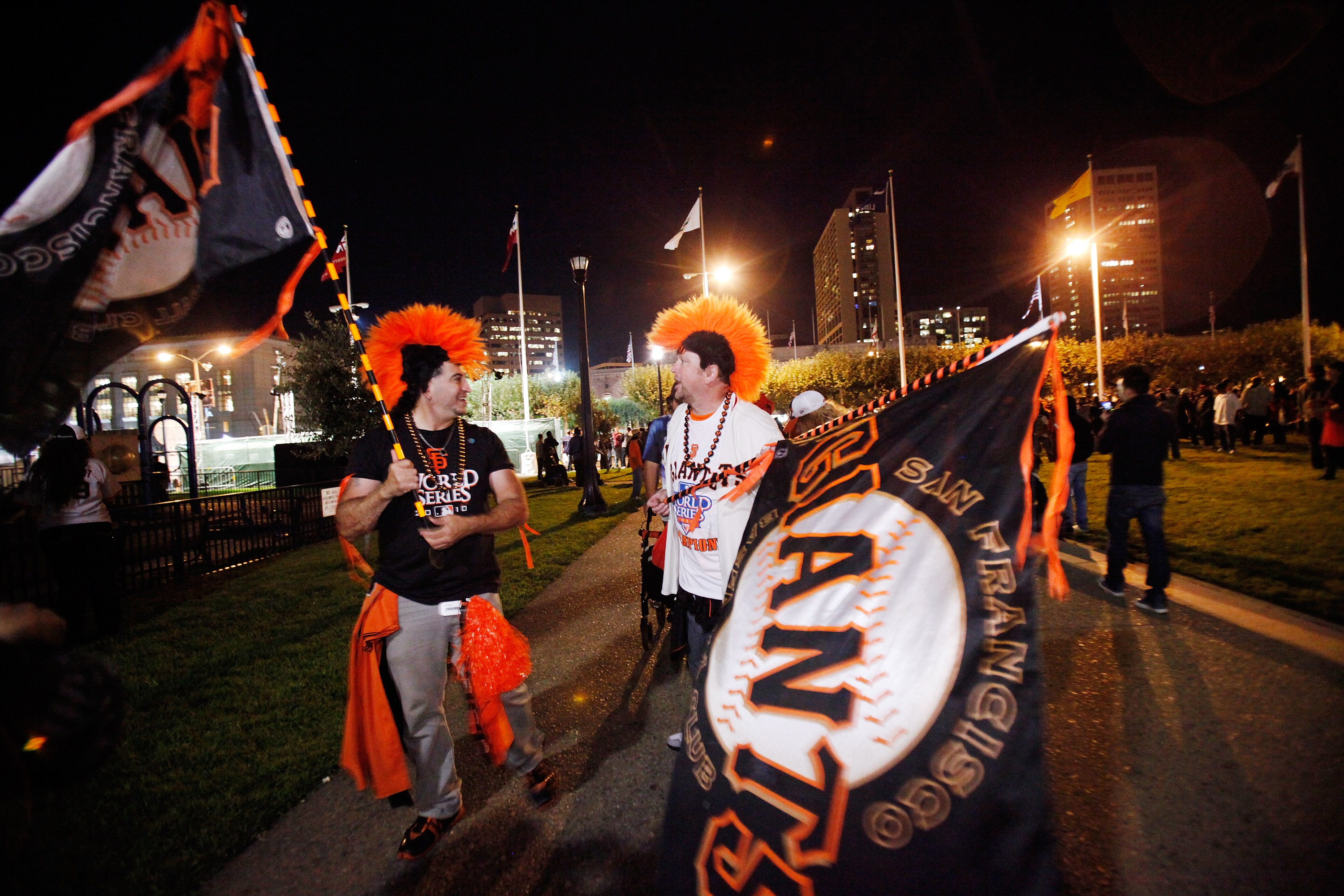 SAN FRANCISCO - NOVEMBER 01:  San Francisco Giants baseball fans celebrate the Giants World Series win at the Civic Center Plaza November 1, 2010 in San Francisco, California.  The Giants defeated the Texas Rangers 3-1 in game 5 to win their first title i