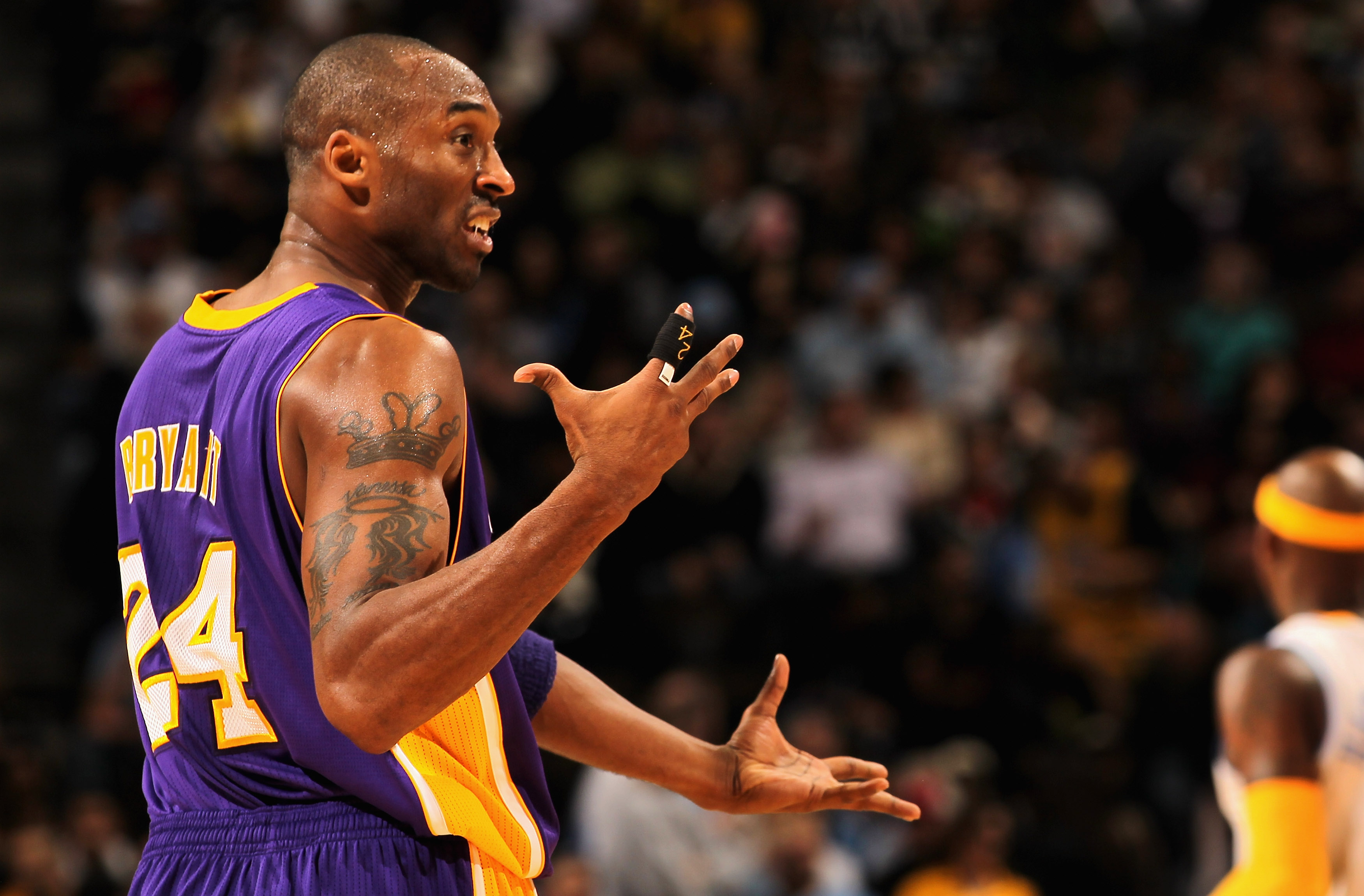 DENVER - NOVEMBER 11:  Kobe Bryant #24 of the Los Angeles Lakers reacts after a play against the Denver Nuggets at the Pepsi Center on November 11, 2010 in Denver, Colorado. The Nuggets defeated the Lakers 118-112.  NOTE TO USER: User expressly acknowledg