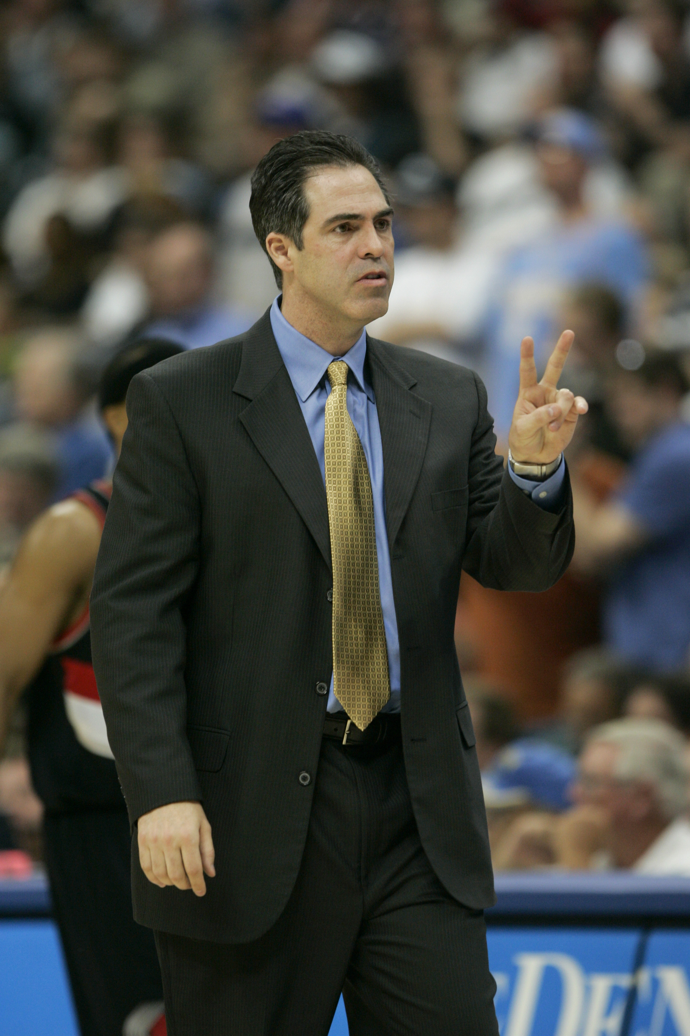 DENVER - APRIL 19:  Head coach Kevin Pritchard of the Denver Nuggets reacts during the game against the Portland Trail Blazers on April 19, 2005 at the Pepsi Center in Denver, Colorado.   The Nuggets won 119-115. NOTE TO USER: User expressly acknowledges