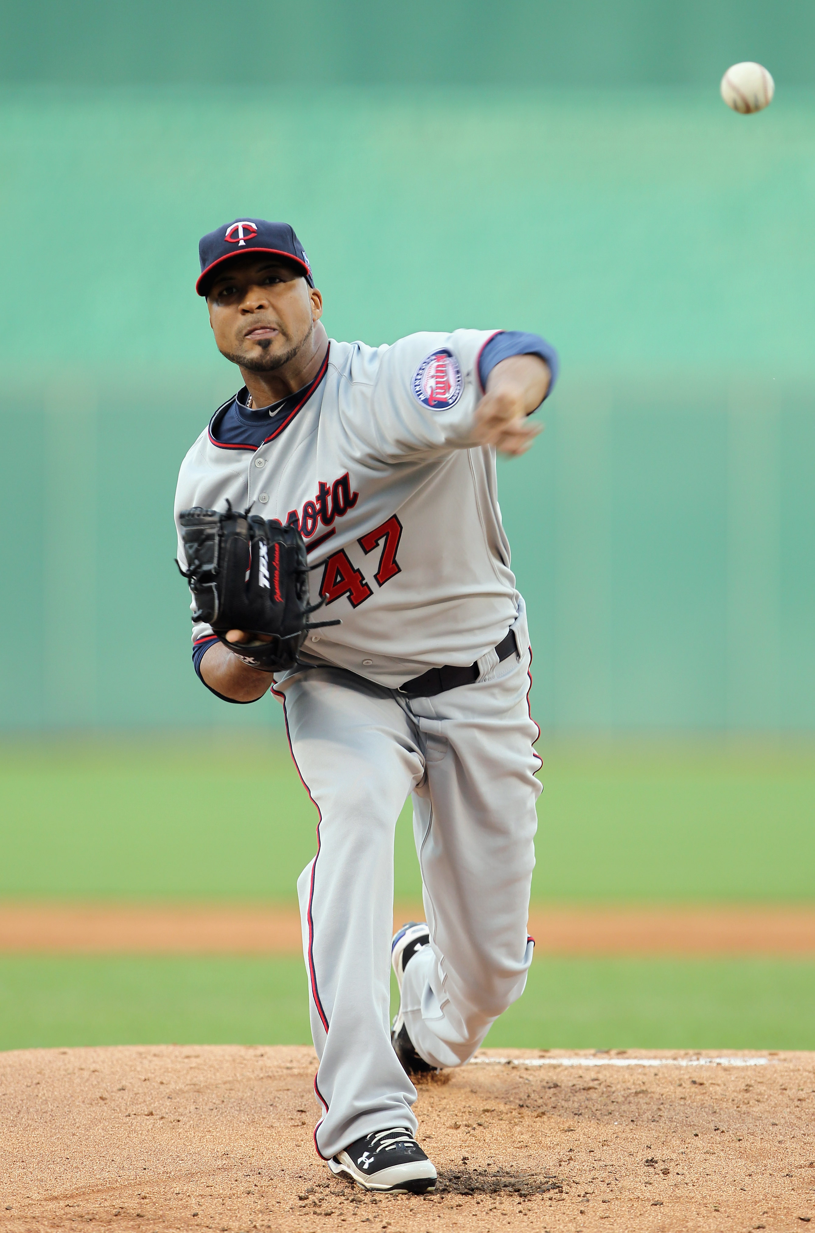 KANSAS CITY, MO - JULY 26:  Starting pitcher Francisco Liriano #47 of the Minnesota Twins warms-up just prior to the start of the game against the Kansas City Royals on July 26, 2010 at Kauffman Stadium in Kansas City, Missouri.  (Photo by Jamie Squire/Ge