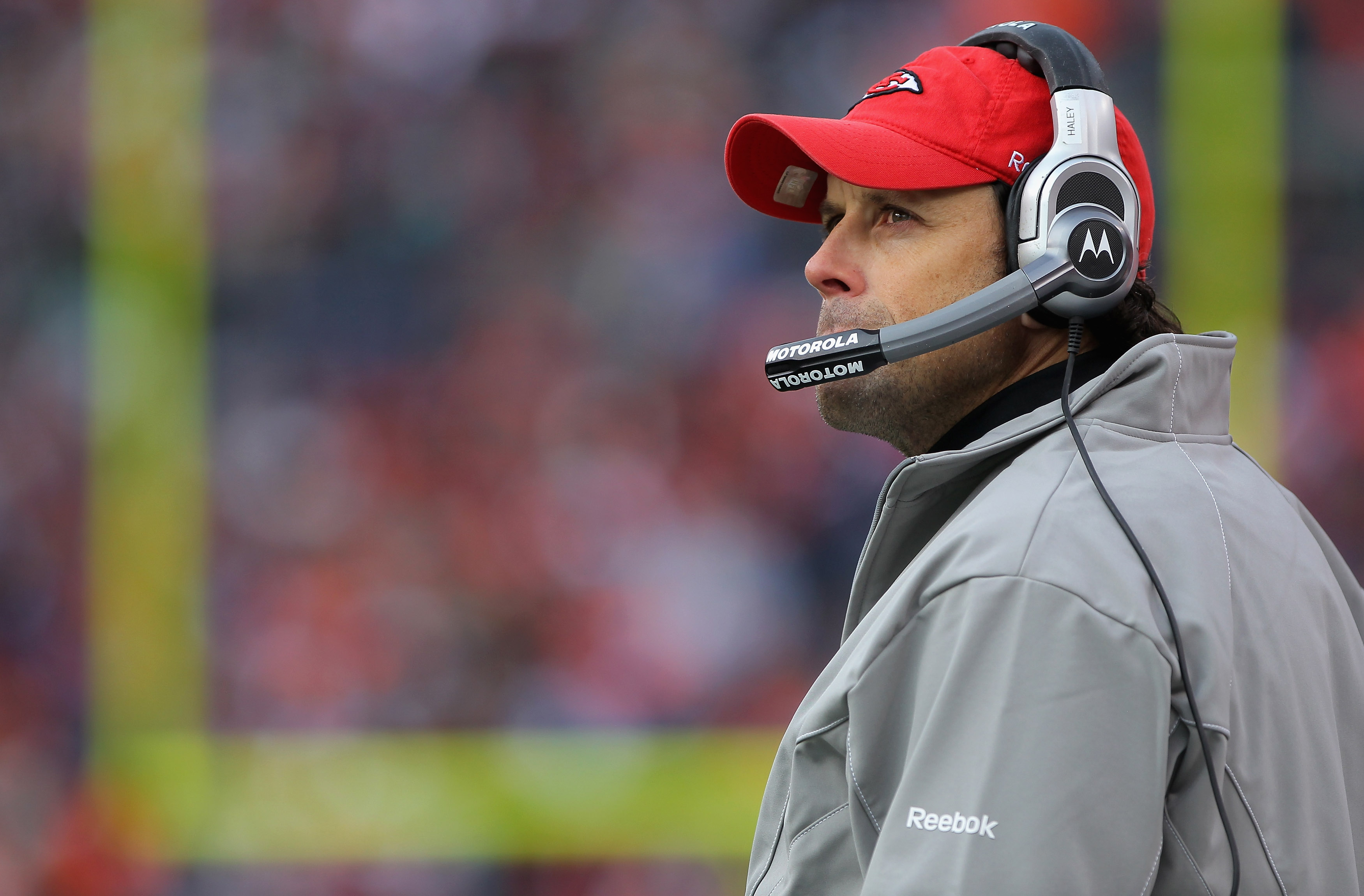 DENVER - NOVEMBER 14:  Head coach Todd Haley of the Kansas City Chiefs leads his team against the Denver Broncos at INVESCO Field at Mile High on November 14, 2010 in Denver, Colorado. The Broncos defeated the Chiefs 49-29.  (Photo by Doug Pensinger/Getty