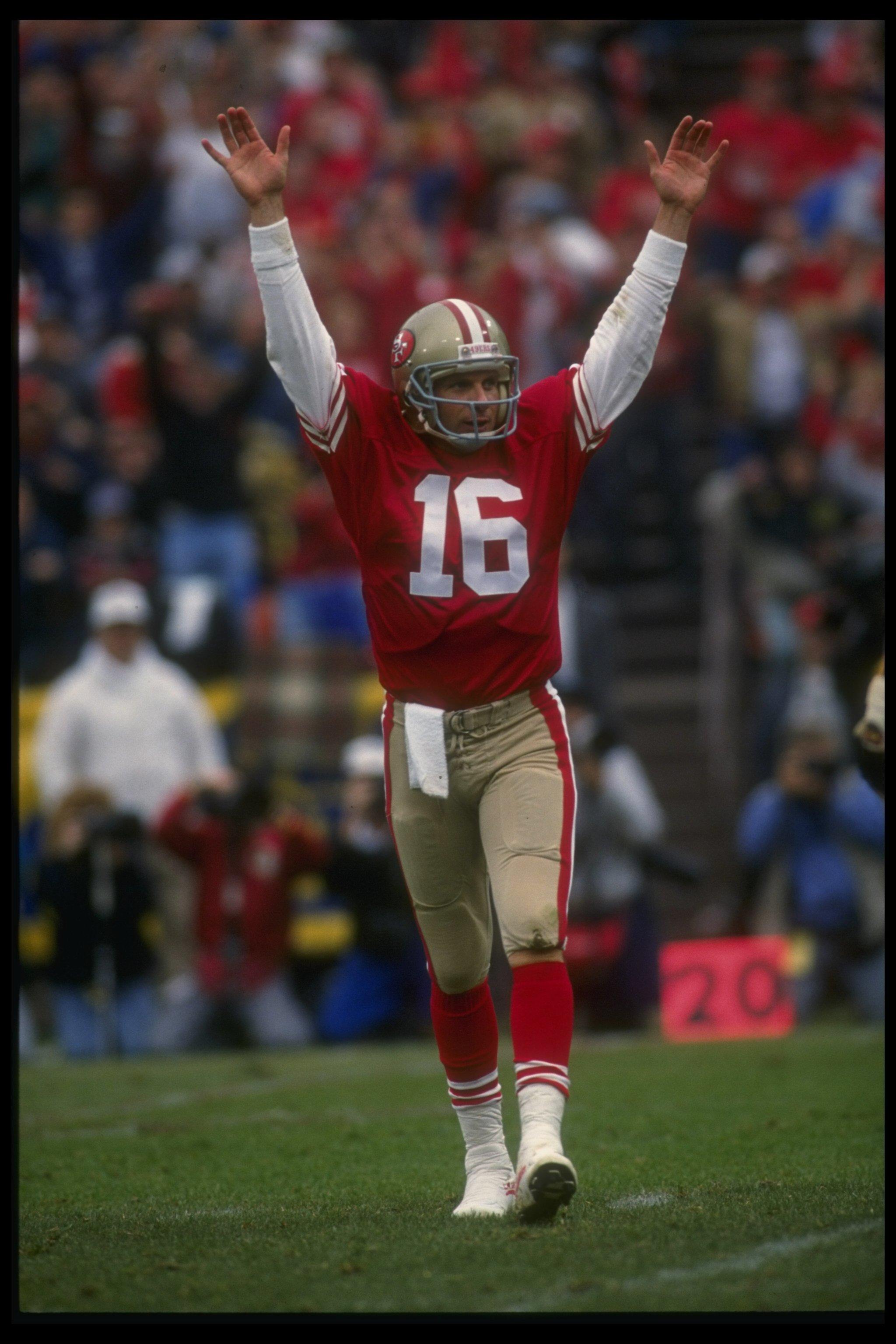 13 Jan 1991  Quarterback Joe Montana  16 of the San Francisco 49ers raises  his 9b35a3d58