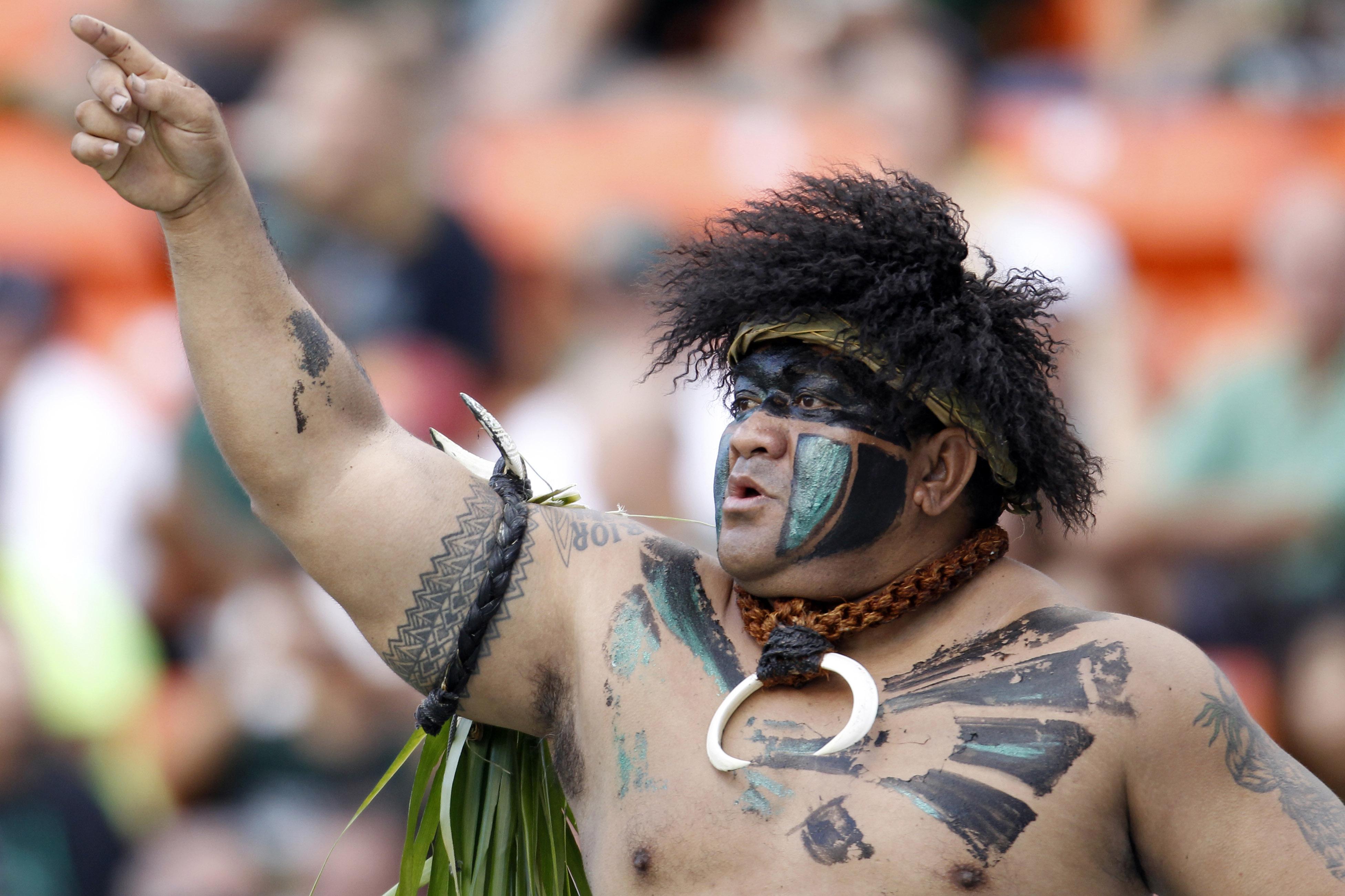HONOLULU - SEPTEMBER 02: Vili Fehoko, the University of Hawaii Mascot at Aloha Stadium September 2, 2010 in Honolulu, Hawaii. (Photo by Kent Nishimura/Getty Images)