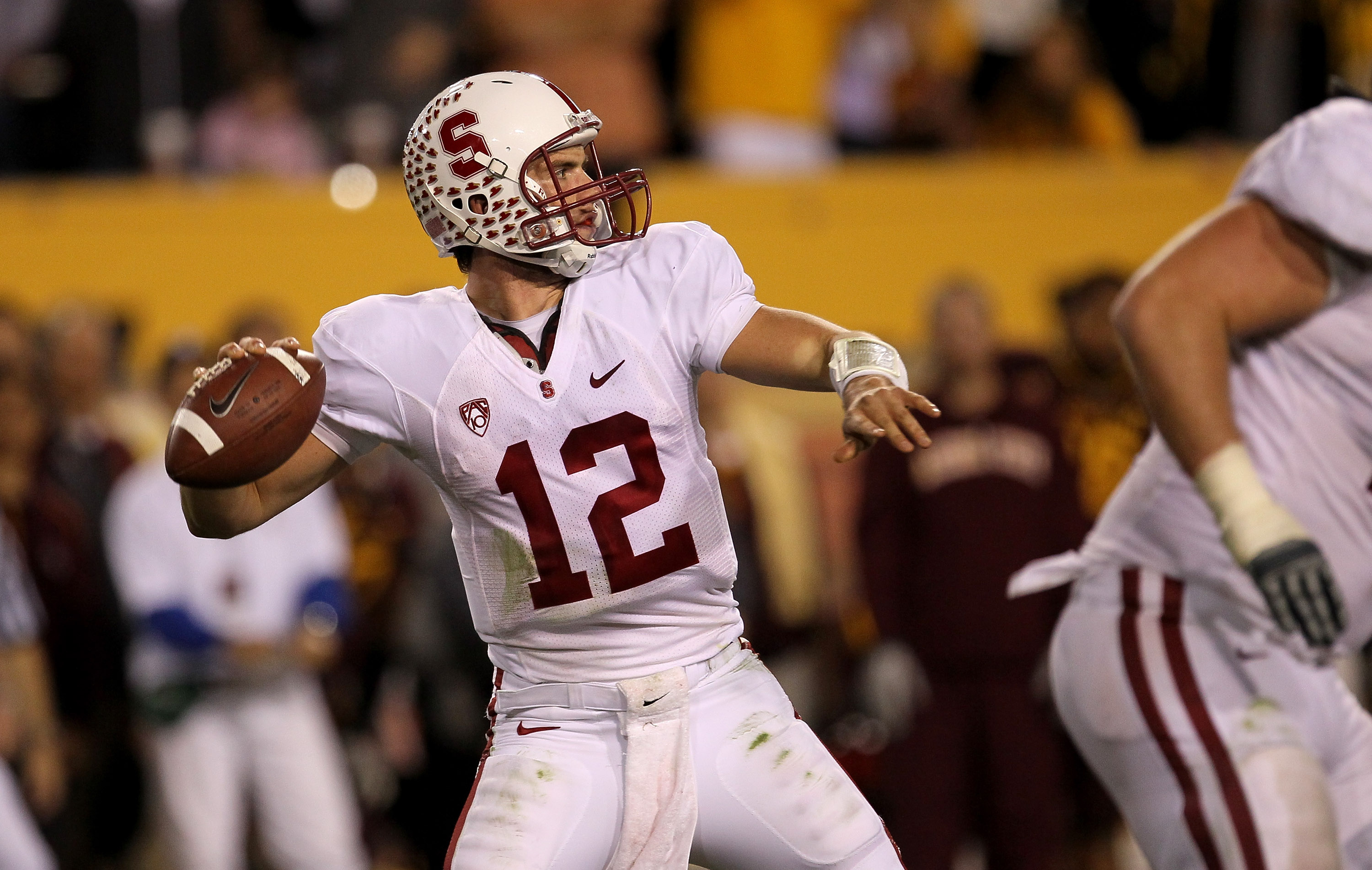 TEMPE, AZ - NOVEMBER 13:  Quarterback Andrew Luck #12 of the Stanford Cardinal throws a pass against the Arizona State Sun Devils at Sun Devil Stadium on November 13, 2010 in Tempe, Arizona.The Cardinal won 17-13.  (Photo by Stephen Dunn/Getty Images)