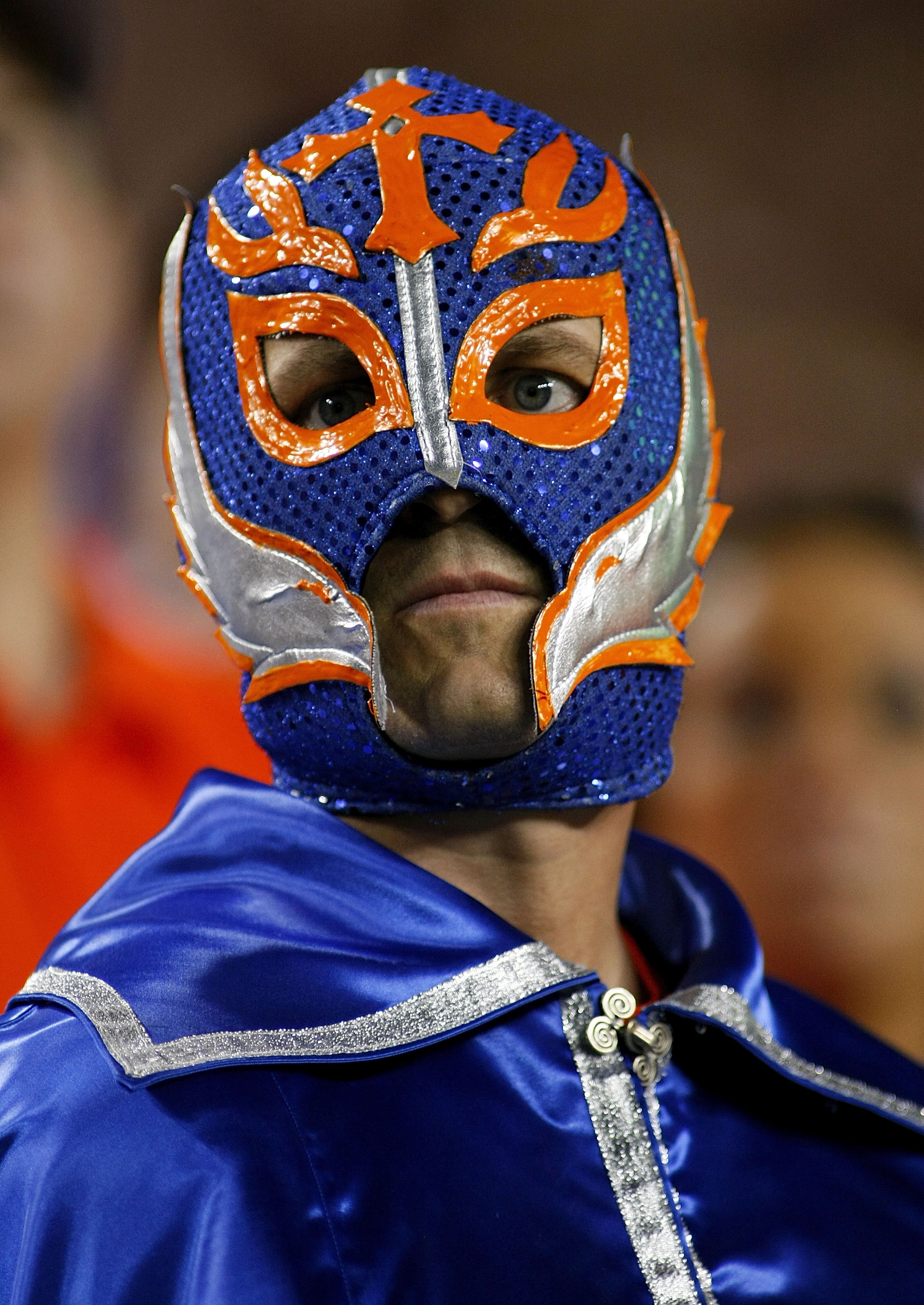 LANDOVER, MD - SEPTEMBER 06:  A Boise State Broncos fan watches from the stands against the Virginia Tech Hokies at FedExField on September 6, 2010 in Landover, Maryland.  (Photo by Geoff Burke/Getty Images)