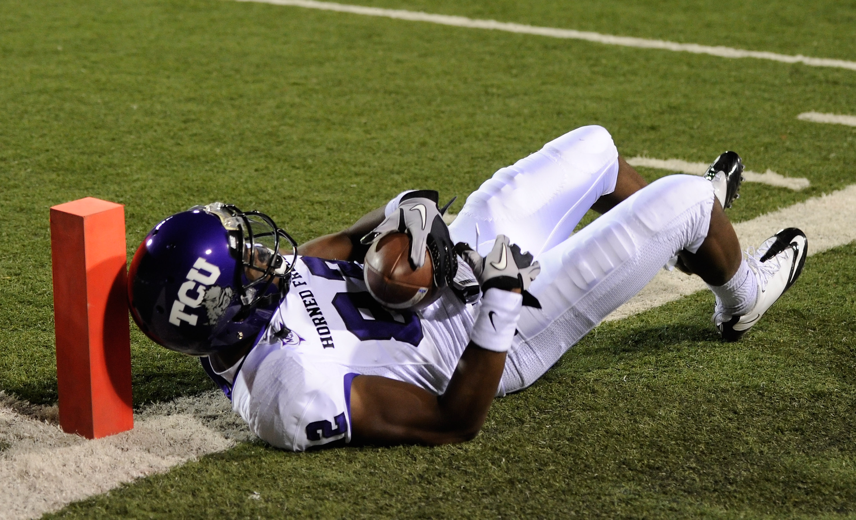 LAS VEGAS - OCTOBER 30:  Josh Boyce #82 of the Texas Christian University Horned Frogs is down just short of the end zone after making a reception against the UNLV Rebels during the second quarter of their game at Sam Boyd Stadium October 30, 2010 in Las