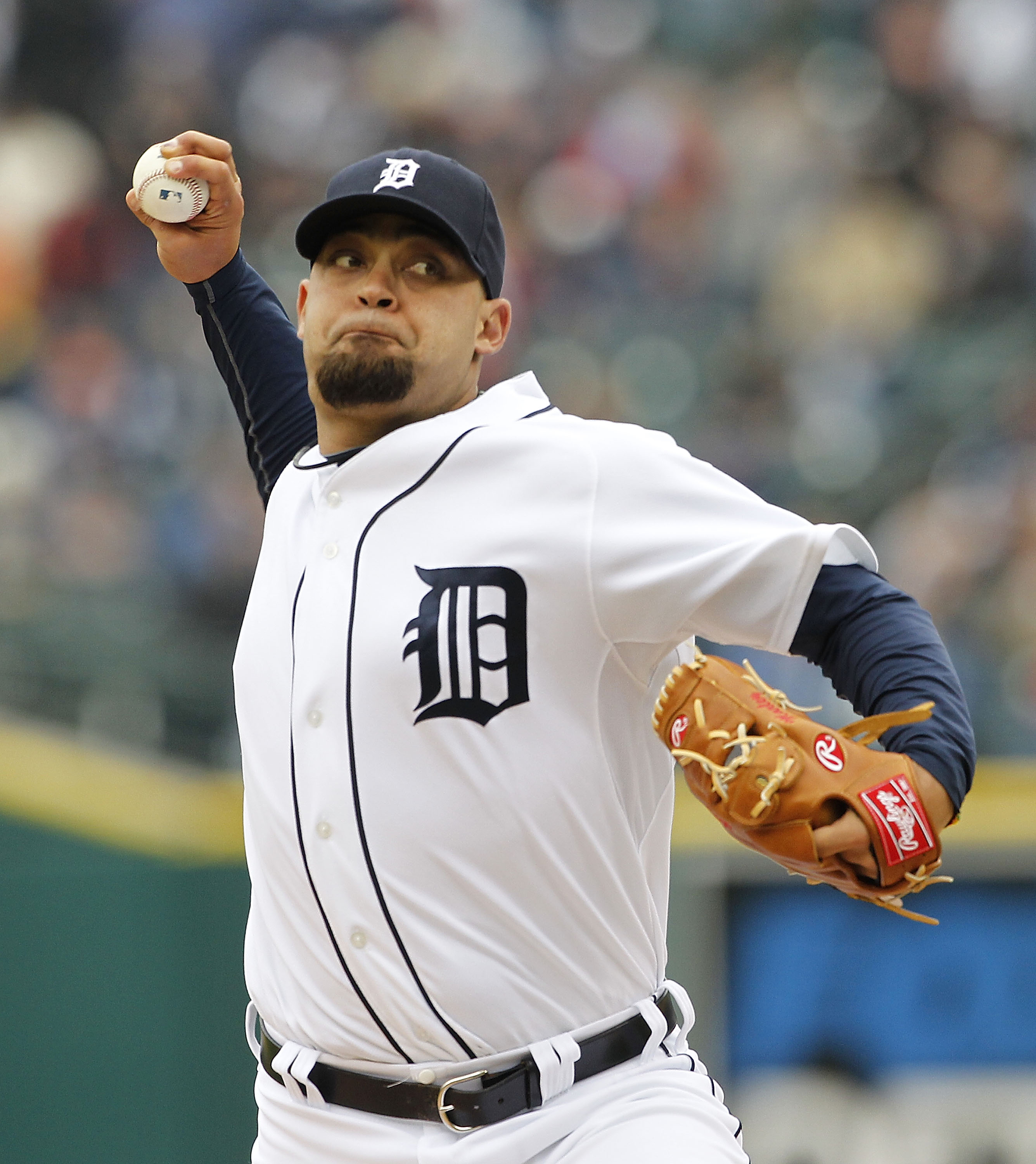 DETROIT - MAY 13: Joel Zumaya #54 of the Detroit Tigers pitches in the eighth inning against the New York Yankees on May 13, 2010 at Comerica Park in Detroit, Michigan. The Tigers defeated the Yankees 6-0.  (Photo by Leon Halip/Getty Images)