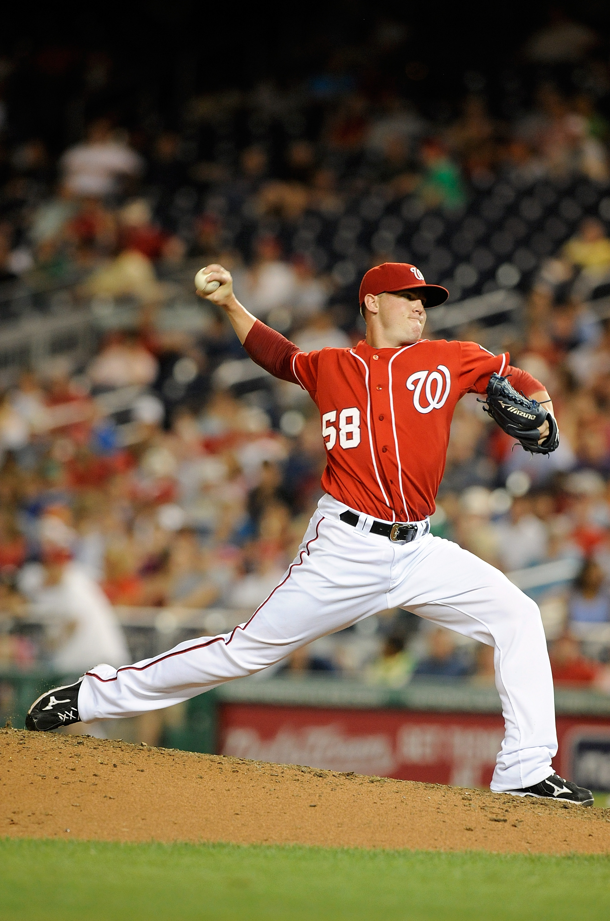 WASHINGTON - JULY 09:  Drew Storen #58 of the Washington Nationals pitches against the San Francisco Giants at Nationals Park on July 9, 2010 in Washington, DC.  (Photo by Greg Fiume/Getty Images)