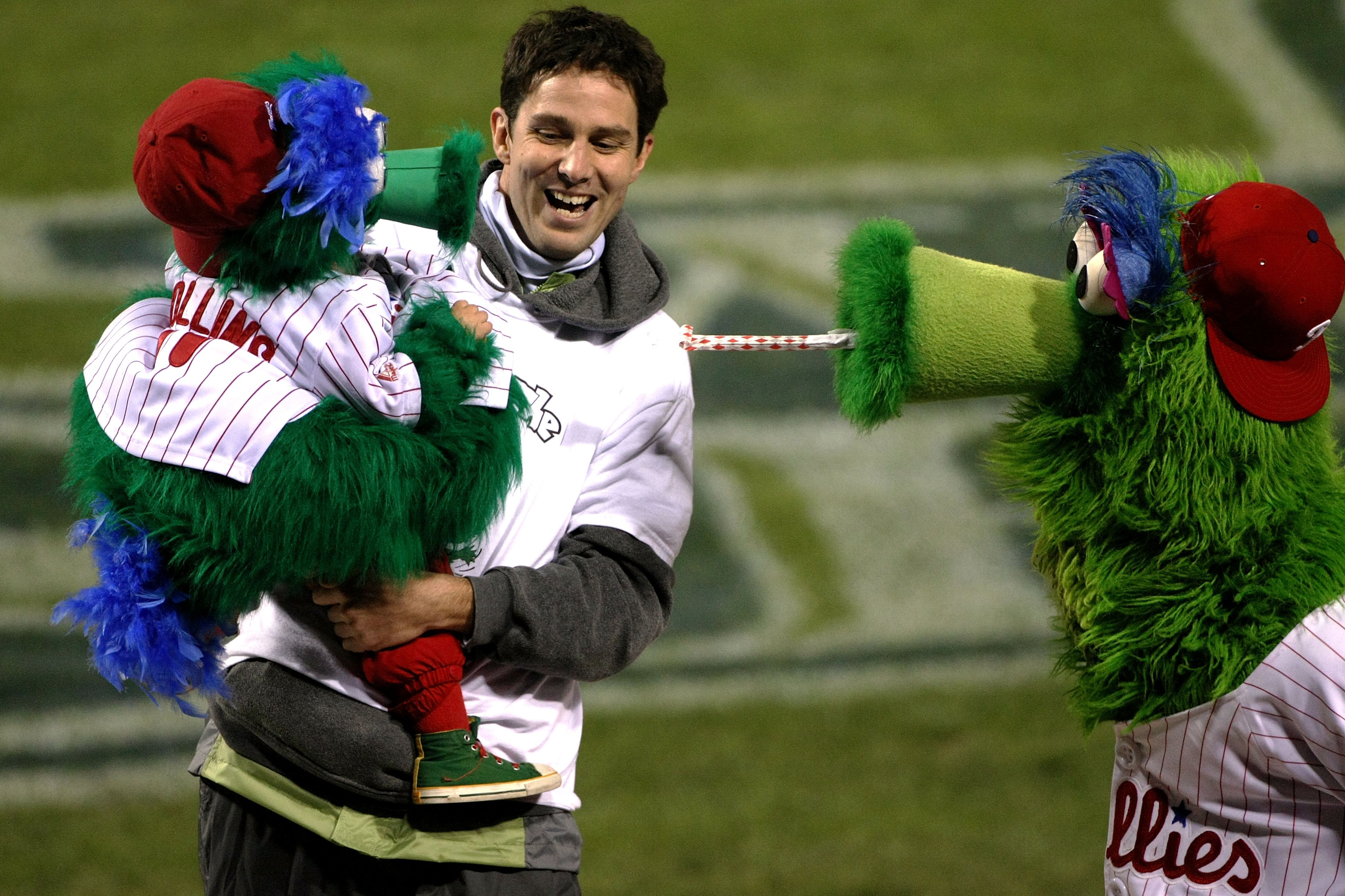 PHILADELPHIA - OCTOBER 29:  The Philly Phanatic (R), mascot of the Philadelphia Phillies interacts with a young fans dresses in a Phanatic outfit against the Tampa Bay Rays during the continuation of game five of the 2008 MLB World Series on October 29, 2