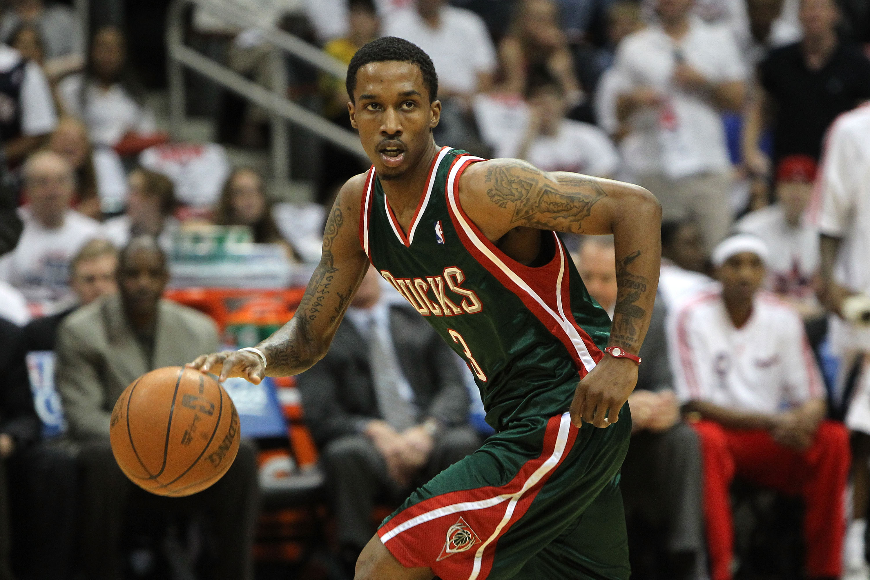 ATLANTA - MAY 2:  Guard Brandon Jennings #3 of the Milwaukee Bucks dribbles with the ball during Game Seven of the Eastern Conference Quarterfinals against the Atlanta Hawks during the 2010 NBA Playoffs at Philips Arena on May 2, 2010 in Atlanta, Georgia.