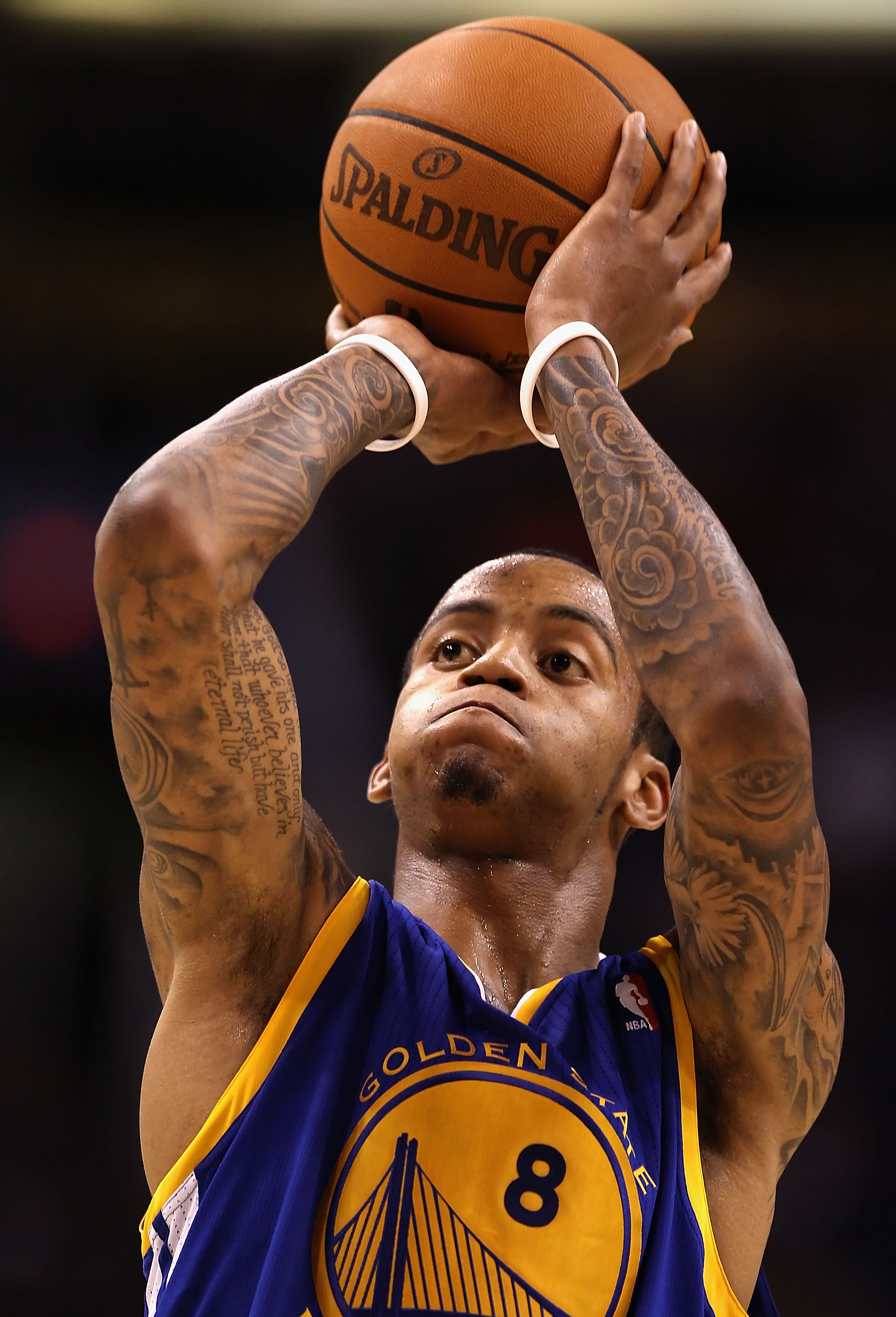 PHOENIX - OCTOBER 19:  Monta Ellis #8 of the Golden State Warriors shoots a free throw shot against the Phoenix Suns during the preseason NBA game at US Airways Center on October 19, 2010 in Phoenix, Arizona. NOTE TO USER: User expressly acknowledges and