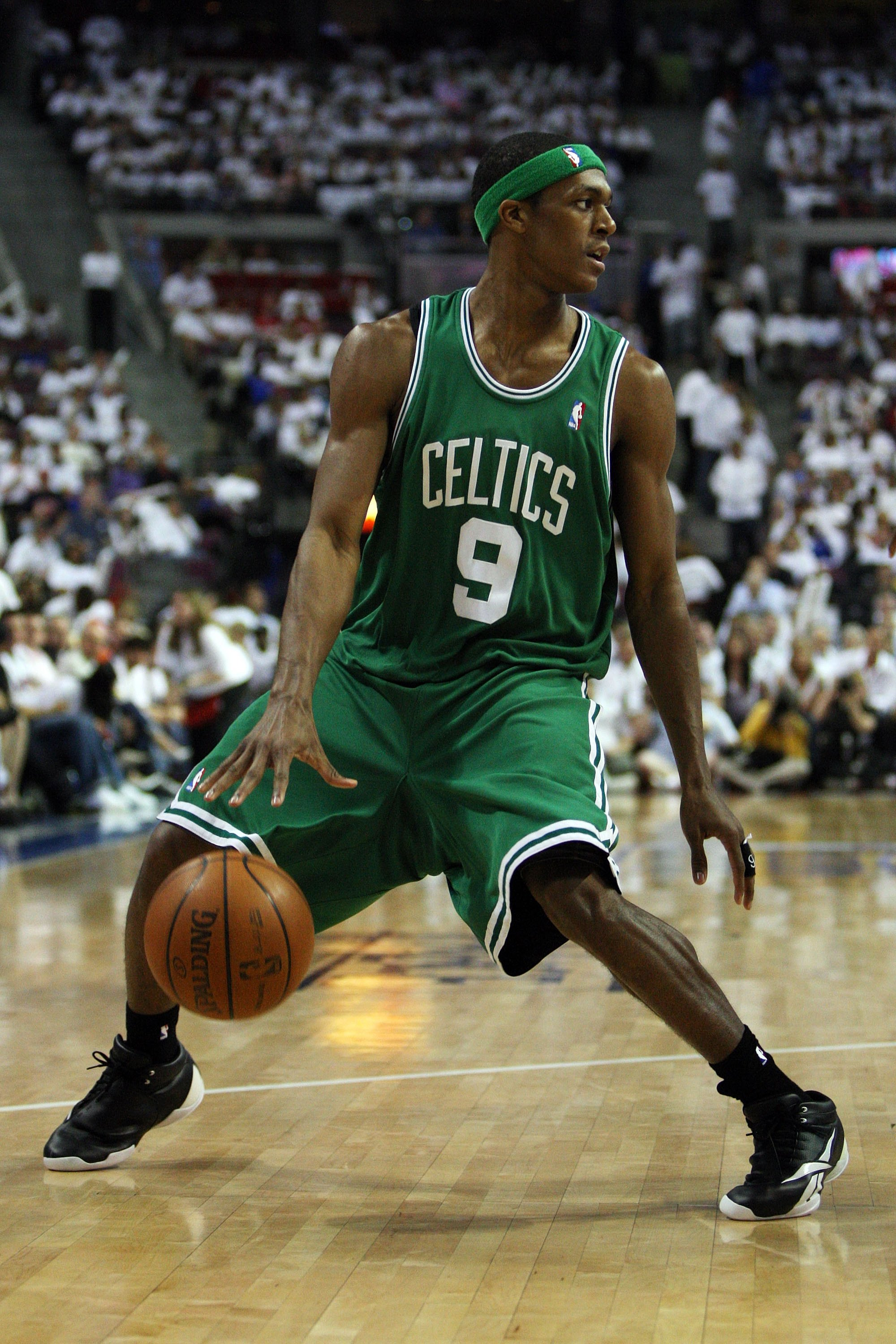 AUBURN HILLS, MI - MAY 24:  Rajon Rondo #9 of the Boston Celtics handles the ball against the Detroit Pistons in Game Three of the Eastern Conference Finals during the 2008 NBA Playoffs on May 24, 2008 at the Palace at Auburn Hills in Auburn Hills, Michig