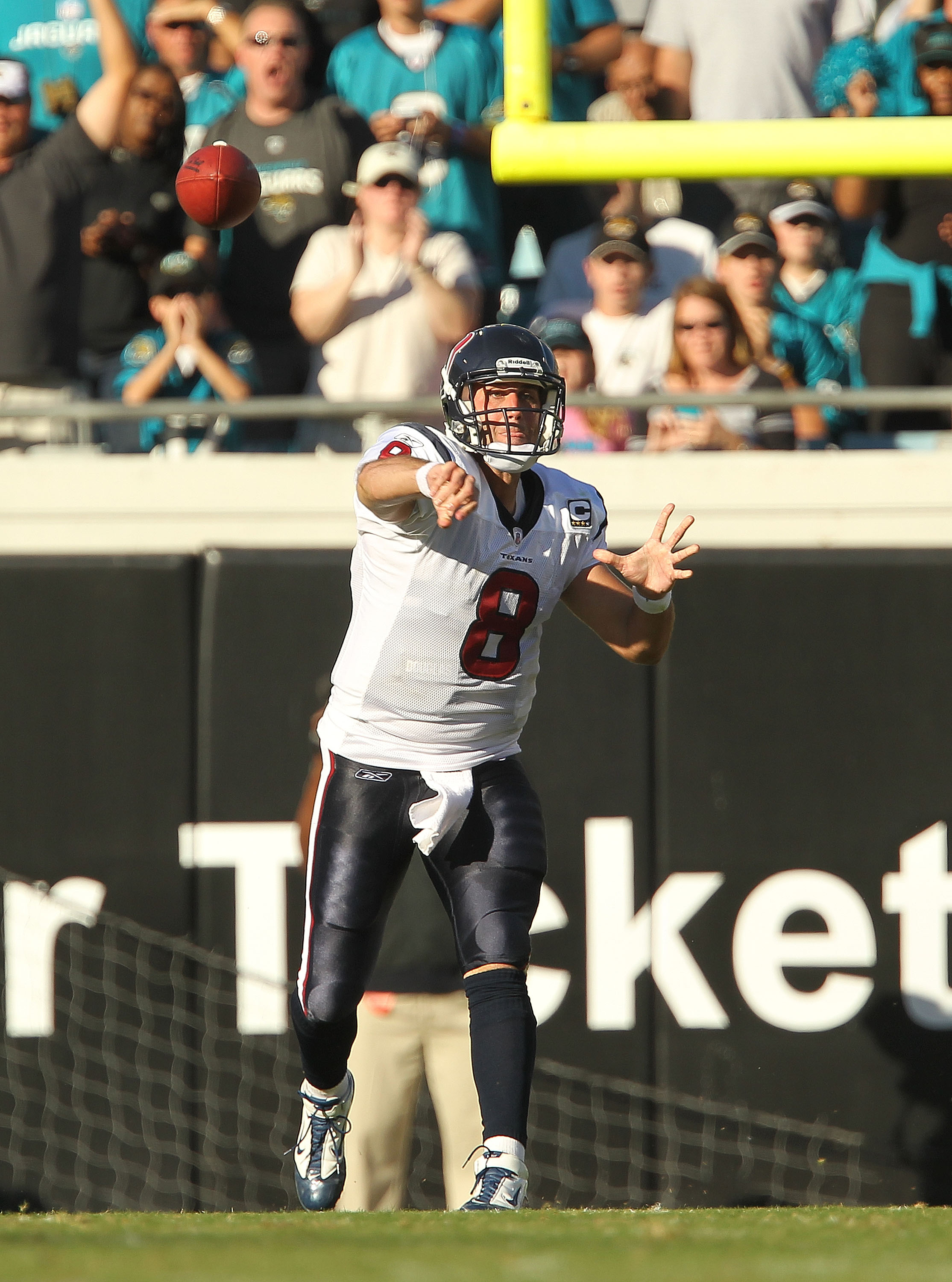 JACKSONVILLE, FL - NOVEMBER 14:  Matt Schaub #8 of the Houston Texans throws a pass during a game against the Jacksonville Jaguars at EverBank Field on November 14, 2010 in Jacksonville, Florida.  (Photo by Mike Ehrmann/Getty Images)