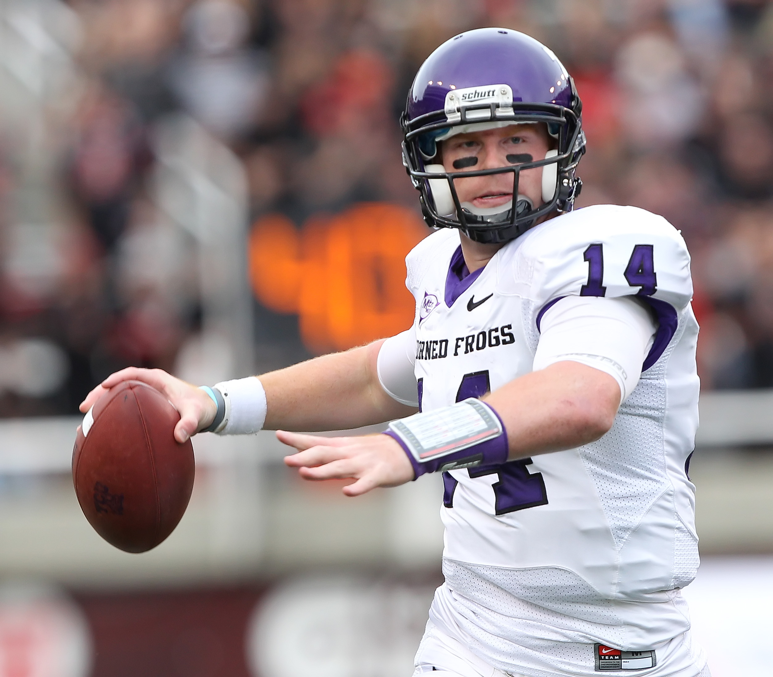 SALT LAKE CITY, UT - NOVEMBER 6: Quarterback Andy Dalton #14 of the TCU Horned Frogs throws a pass against the Utah Utes during the second half of an NCAA Football game November 6, 2010 at Rice-Eccles Stadium in Salt Lake City, Utah. TCU Beat Utah 47-7.
