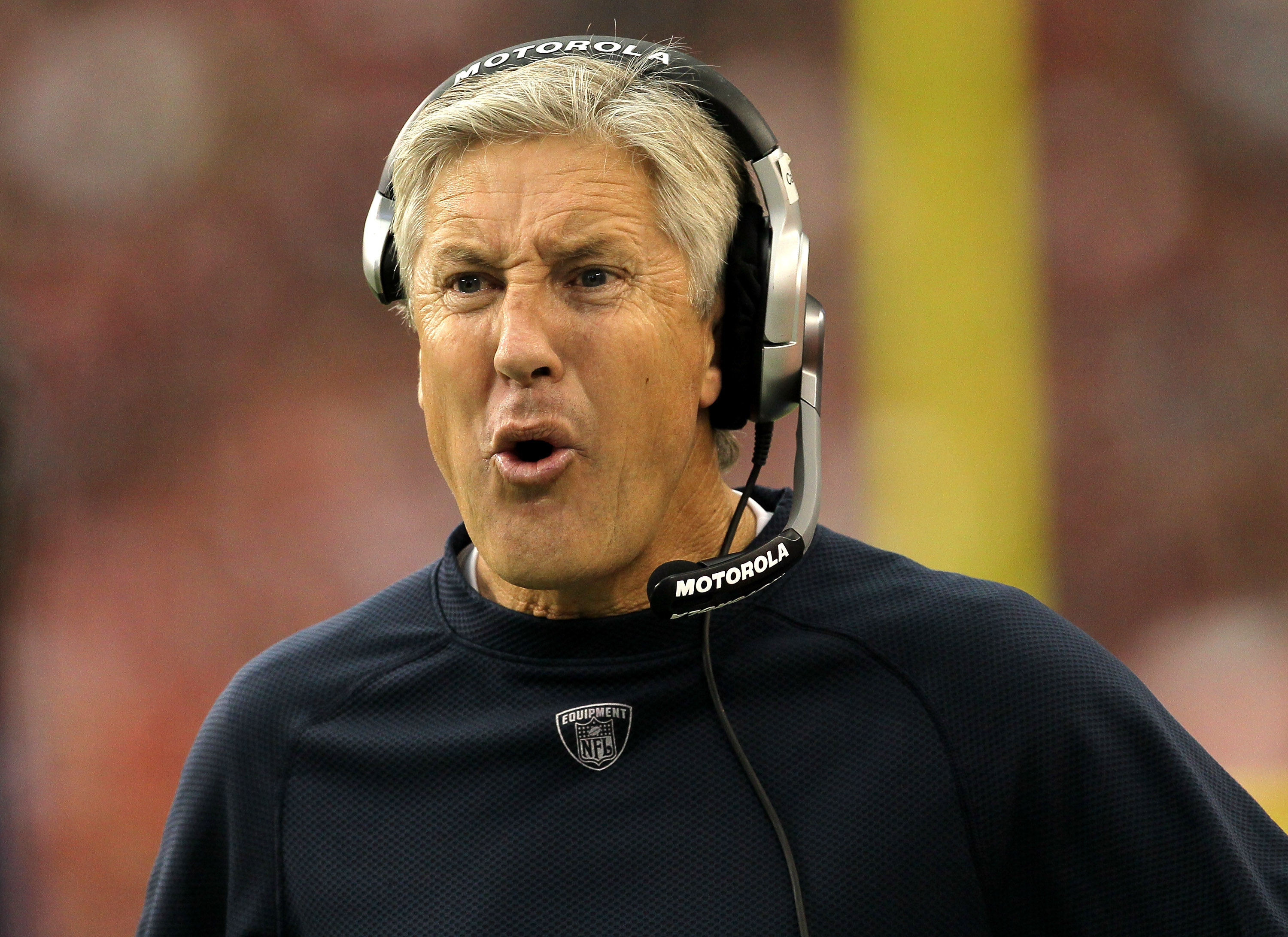 GLENDALE, AZ - NOVEMBER 14:  Head coach Pete Carroll of the Seattle Seahawks complains to a referee during the game with the Arizona Cardinals at University of Phoenix Stadium on November 14, 2010 in Glendale, Arizona.  Seattle won 36-18. (Photo by Stephe
