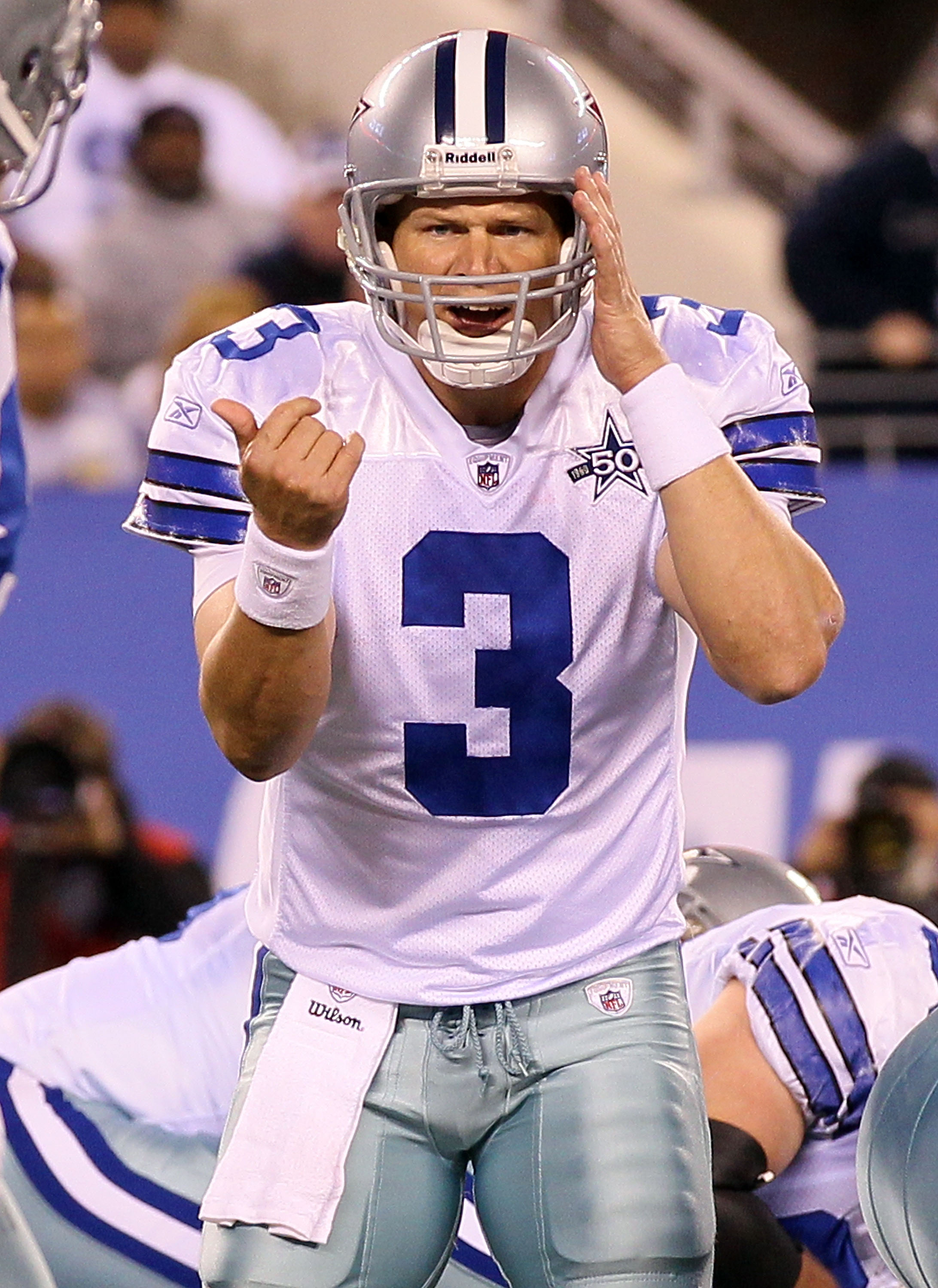 EAST RUTHERFORD, NJ - NOVEMBER 14:  Jon Kitna #3 of the Dallas Cowboys calls a play against the New York Giants on November 14, 2010 at the New Meadowlands Stadium in East Rutherford, New Jersey. The Cowboys defeated the Giants 33-20.  (Photo by Jim McIsa