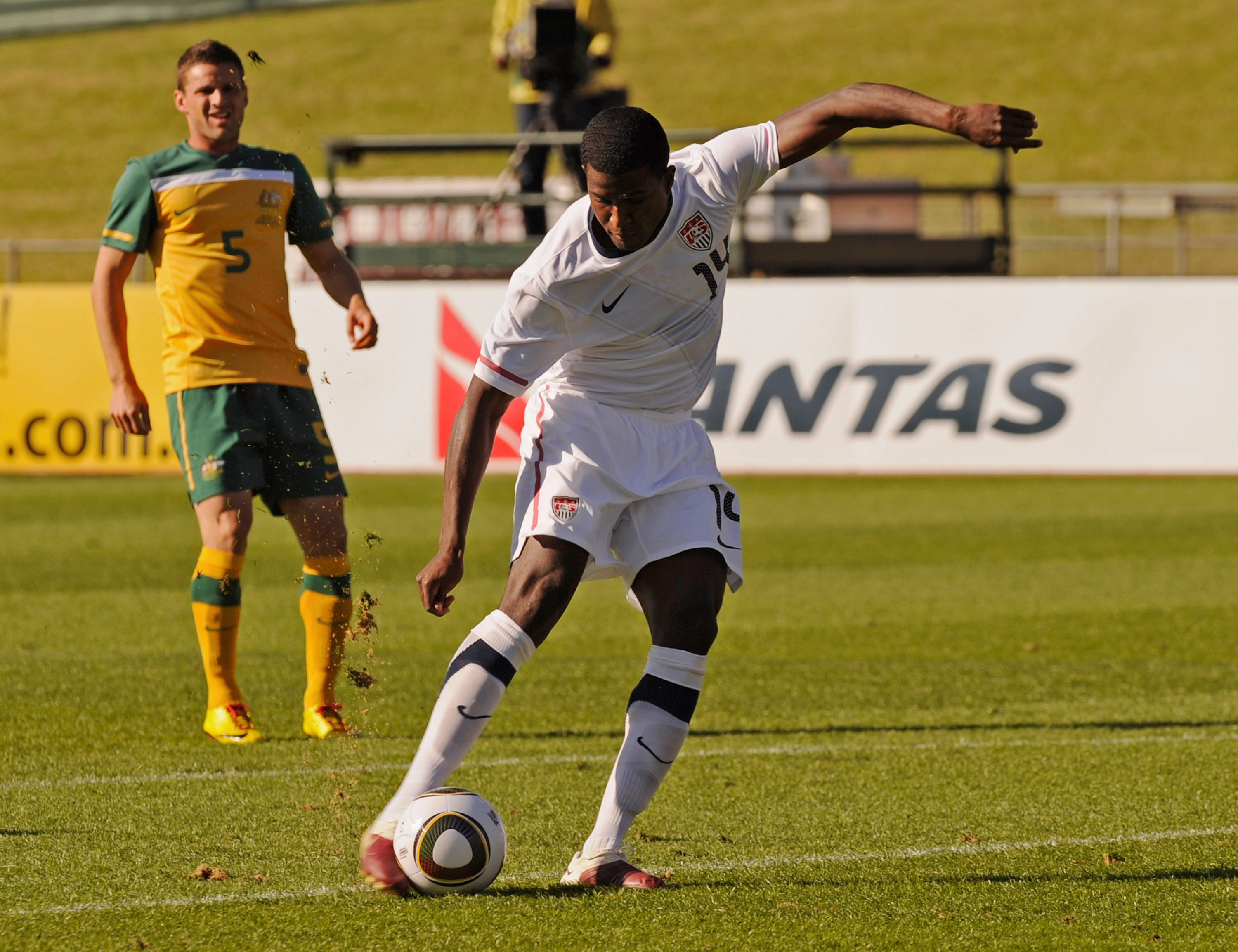 ROODEPOORT, SOUTH AFRICA - JUNE 05:  Edson Buddle #14 of USA scores a goal against Australia during first half of the 2010 FIFA World Cup Pre-Tournament match between the Australian Socceroos and the United States of America at Ruimsig Stadium on June 5,