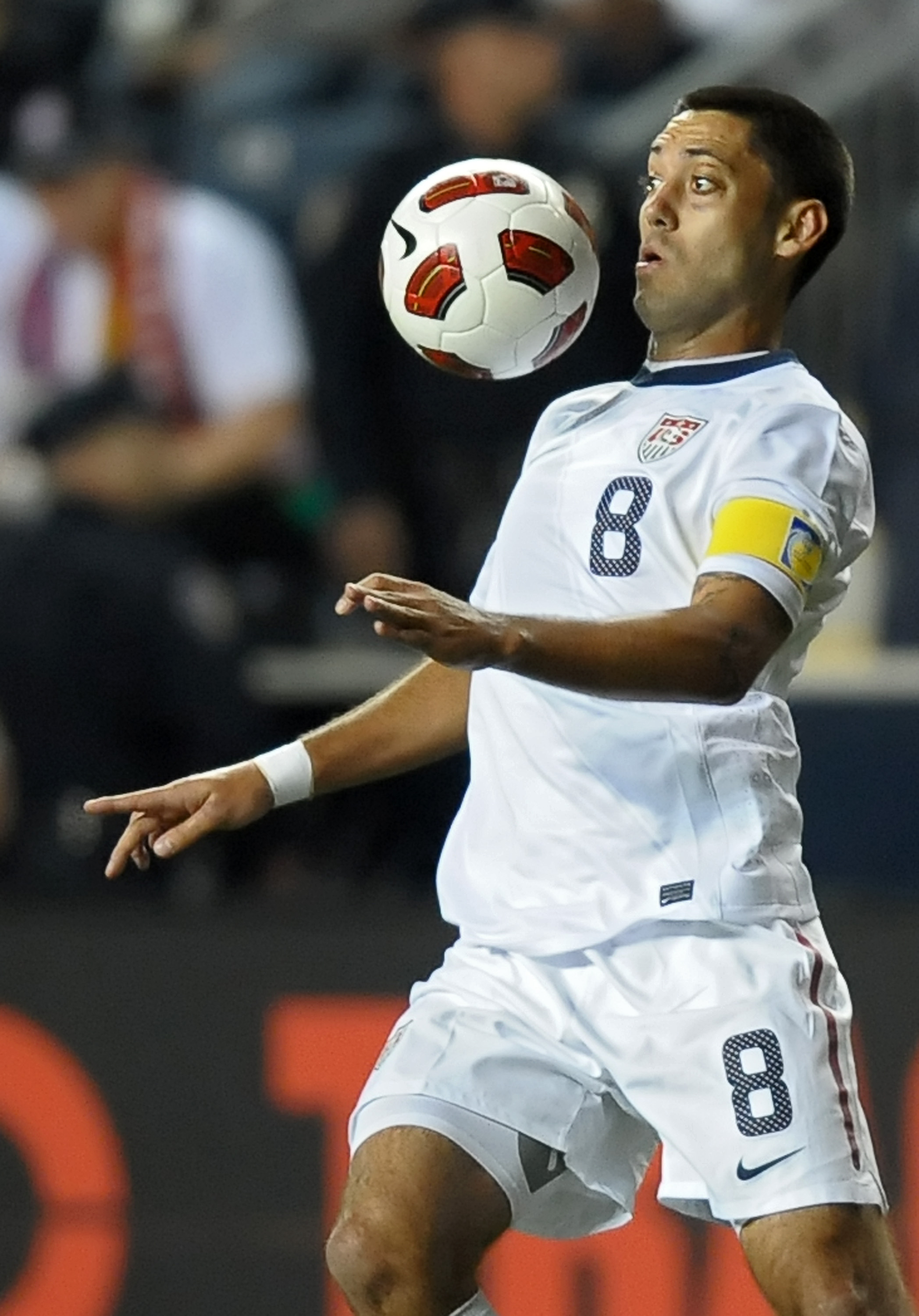 CHESTER, PA - OCTOBER 12: Clint Dempsey #8 of the United States keeps his eye on the ball during the game against Colombia at PPL Park on October 12, 2010 in Chester, Pennsylvania. The game ended in a 0-0 tie. (Photo by Drew Hallowell/Getty Images)