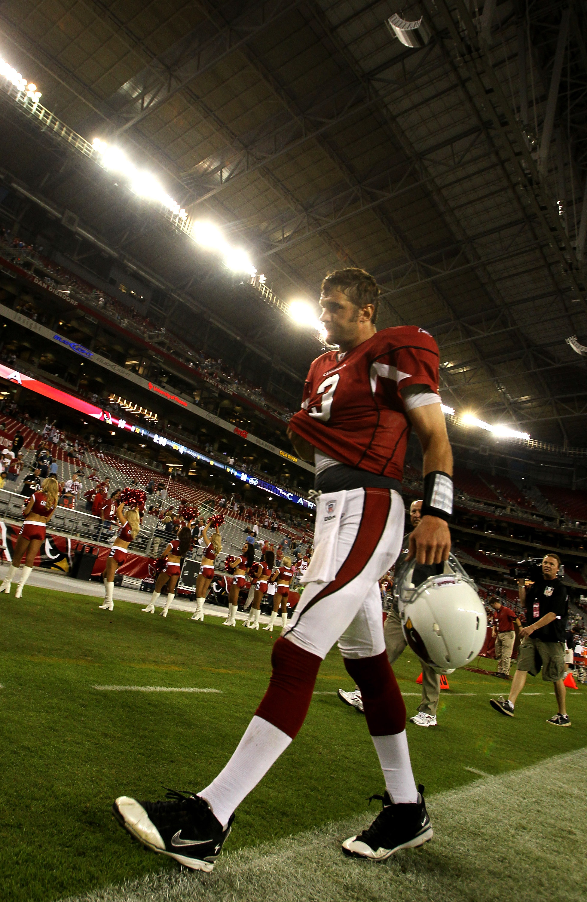 GLENDALE, AZ - NOVEMBER 14:  Quarterback Derek Anderson #3 of the Arizona Cardinals walks off the field after the game with the Seattle Seahawks at University of Phoenix Stadium on November 14, 2010 in Glendale, Arizona. Seattle won 36-18.  (Photo by Step