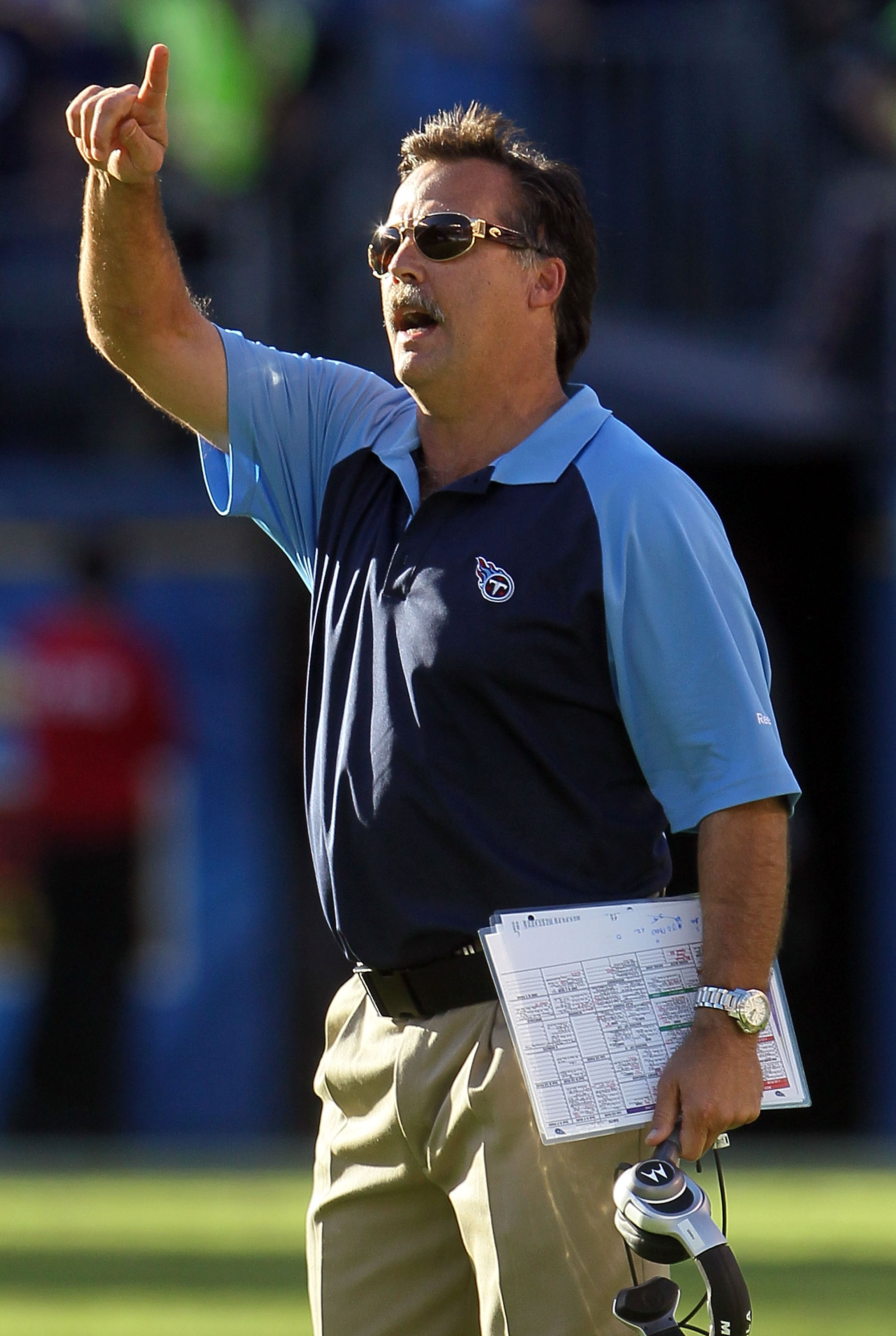 SAN DIEGO - OCTOBER 31:  Tennessee Titans head coach Jeff Fisher watches the game from the sideline against the San Diego Chargers at Qualcomm Stadium on October 31, 2010 in San Diego, California.  (Photo by Jeff Gross/Getty Images)