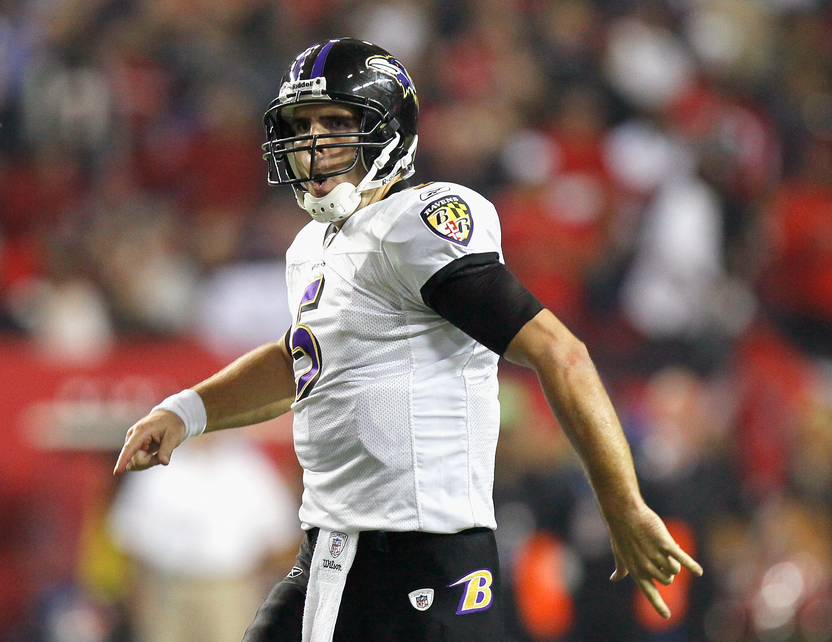 ATLANTA - NOVEMBER 11:  Quarterback Joe Flacco #5 of the Baltimore Ravens reacts after tossing a touchdown reception against the Atlanta Falcons at Georgia Dome on November 11, 2010 in Atlanta, Georgia.  (Photo by Kevin C. Cox/Getty Images)