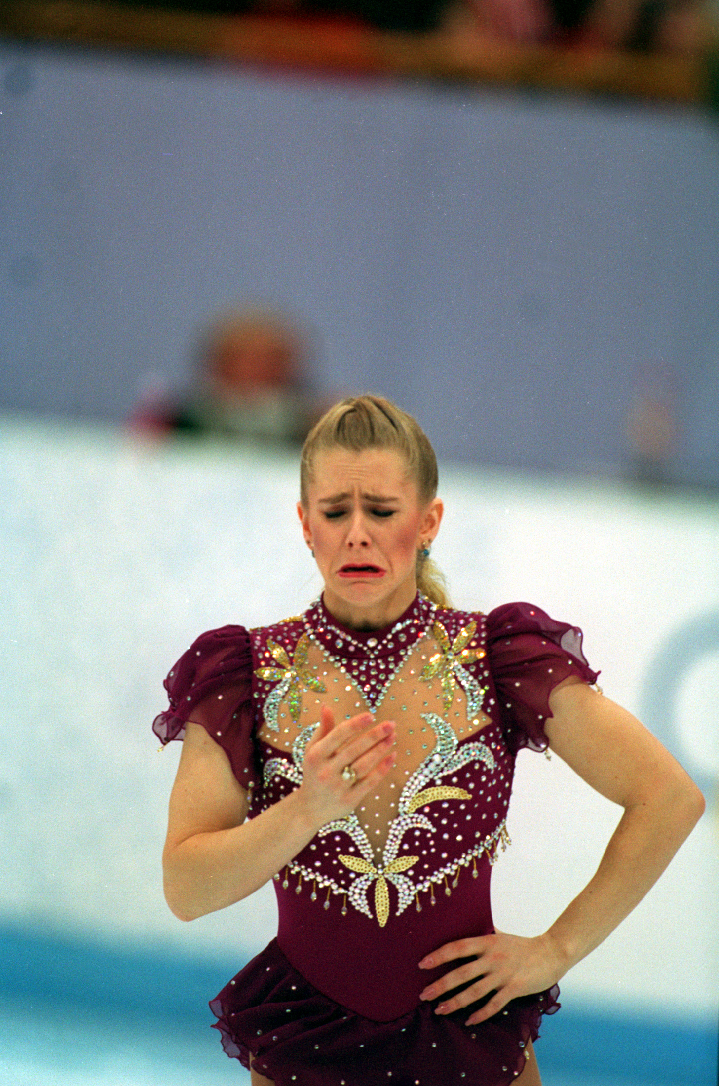 23 FEB 1994:  TONYA HARDING OF THE UNITED STATES LEAVES THE ICE IN TEARS, INTERUPTING HER FREE PROGRAM AT THE 1994 LILLEHAMMER WINTER OLYMPICS.  AFTER CONSULTING THE JUDGES SHE WAS ALLOWED MORE TIME TO REPAIR HER BOOT LACE AND RETURNED TO FINISH HER PROGR
