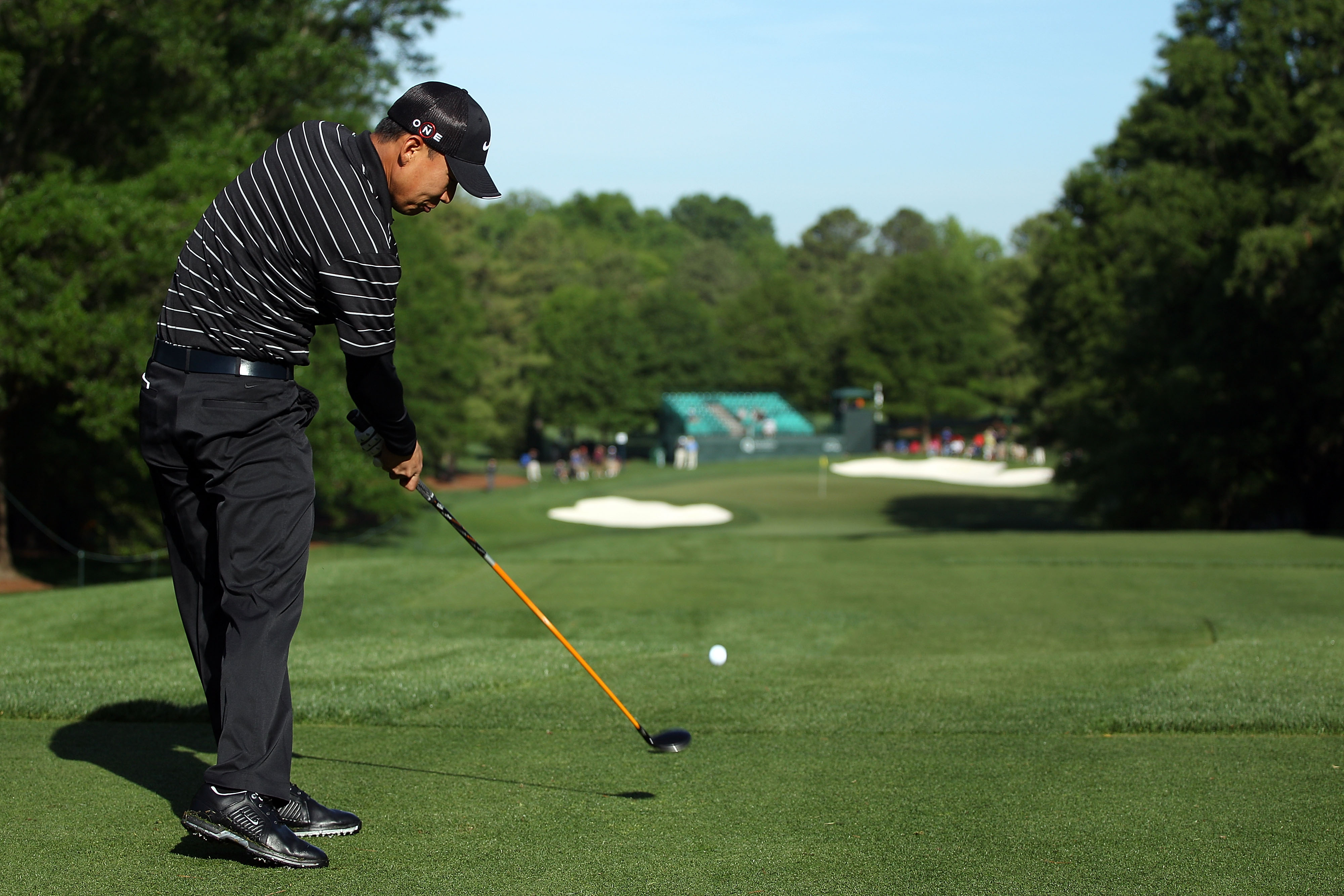 CHARLOTTE, NC - APRIL 29:  Anthony Kim hits his tee shot on the sixth hole during the first round of the 2010 Quail Hollow Championship at the Quail Hollow Club on April 29, 2010 in Charlotte, North Carolina.  (Photo by Scott Halleran/Getty Images)