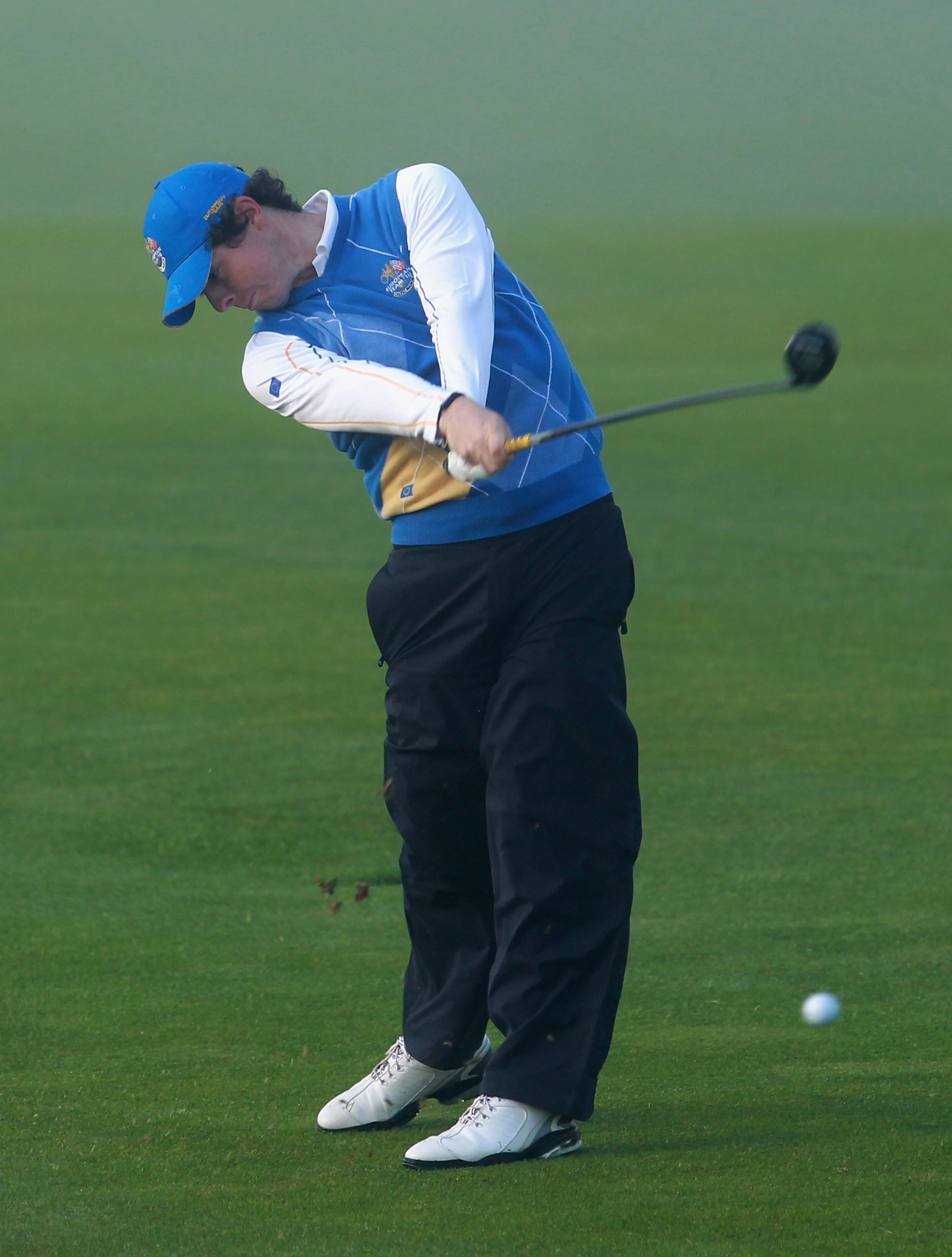 NEWPORT, WALES - OCTOBER 04:  Rory McIlroy of Europe hits a shot on the second hole in the singles matches during the 2010 Ryder Cup at the Celtic Manor Resort on October 4, 2010 in Newport, Wales.  (Photo by Andrew Redington/Getty Images)