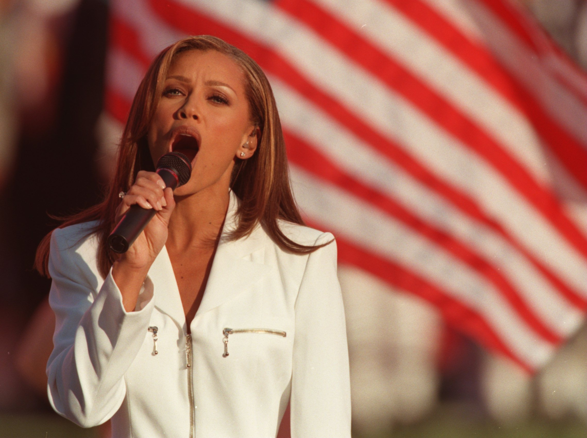 28 Jan 1996:  Singer Vanessa Williams sings the national anthem prior to the Dallas Cowboys game versus the Pittsburgh Steelers in Super Bowl XXX at Sun Devil Stadium in Tempe, Arizona.  The Cowboys defeated the Steelers 27-17. Mandatory Credit: Mike Powe