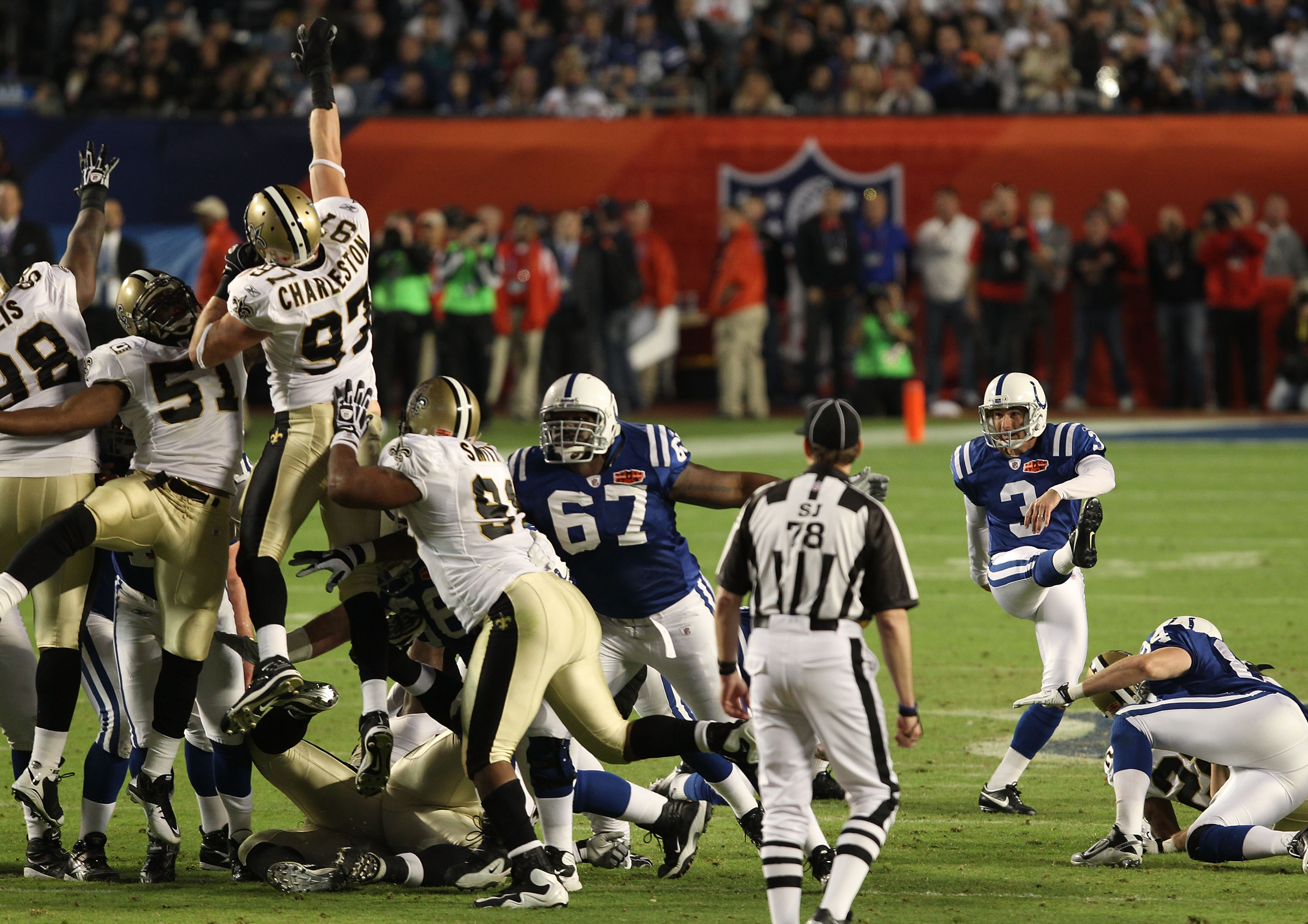 MIAMI GARDENS, FL - FEBRUARY 07:  Matt Stover #3 of the Indianapolis Colts misses a 51 yard field goal in the fourth quarter against the New Orleans Saints during Super Bowl XLIV on February 7, 2010 at Sun Life Stadium in Miami Gardens, Florida.  (Photo b