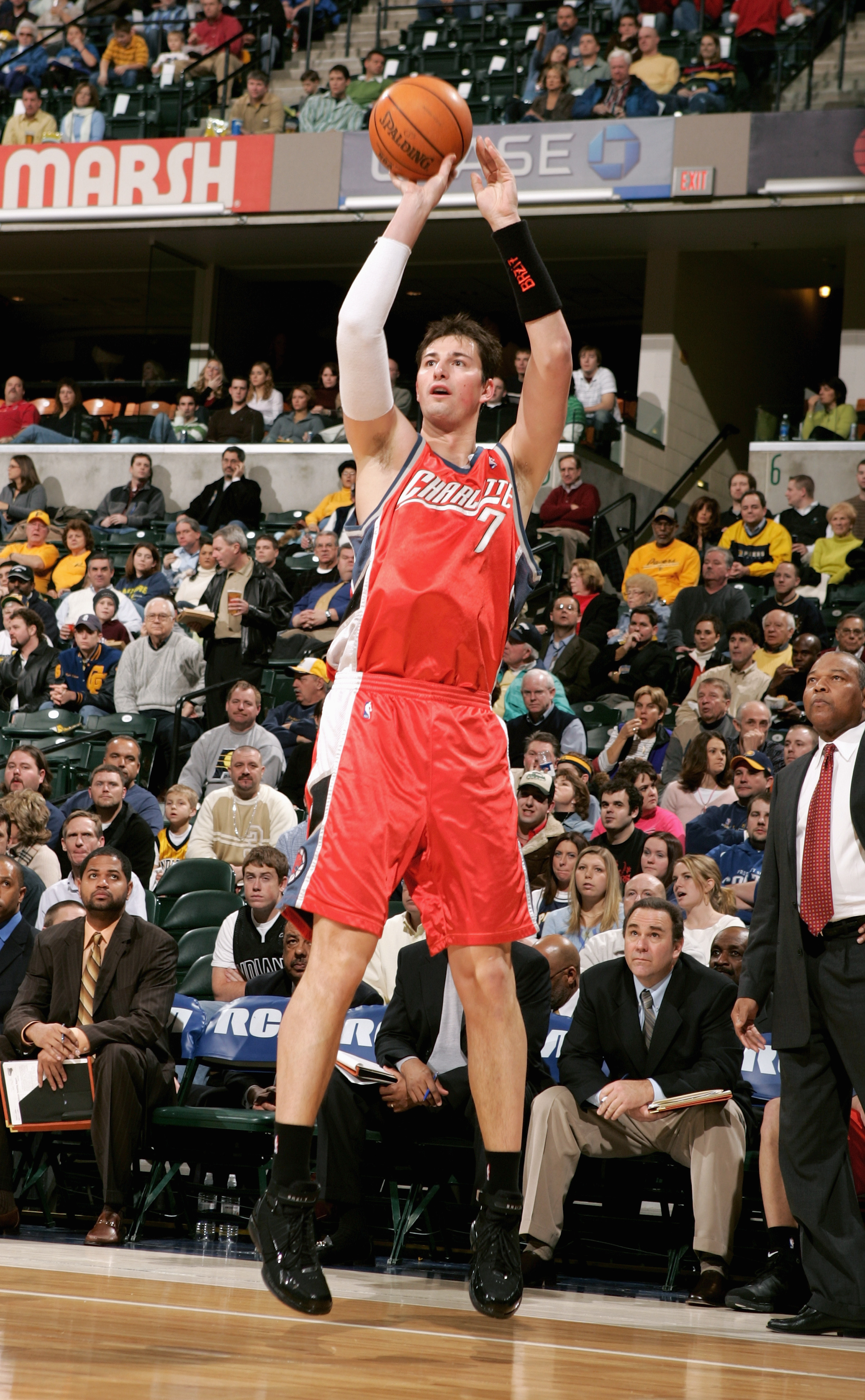 INDIANAPOLIS - JANUARY 18:  Primoz Brezec #7 of the Charlotte Bobcats takes a jump shot  during the game with the Indiana Pacers on January 18, 2006 at Conseco Fieldhouse in Indianapolis, Indiana. The Pacers defeated the Bobcats 98-92. NOTE TO USER: User