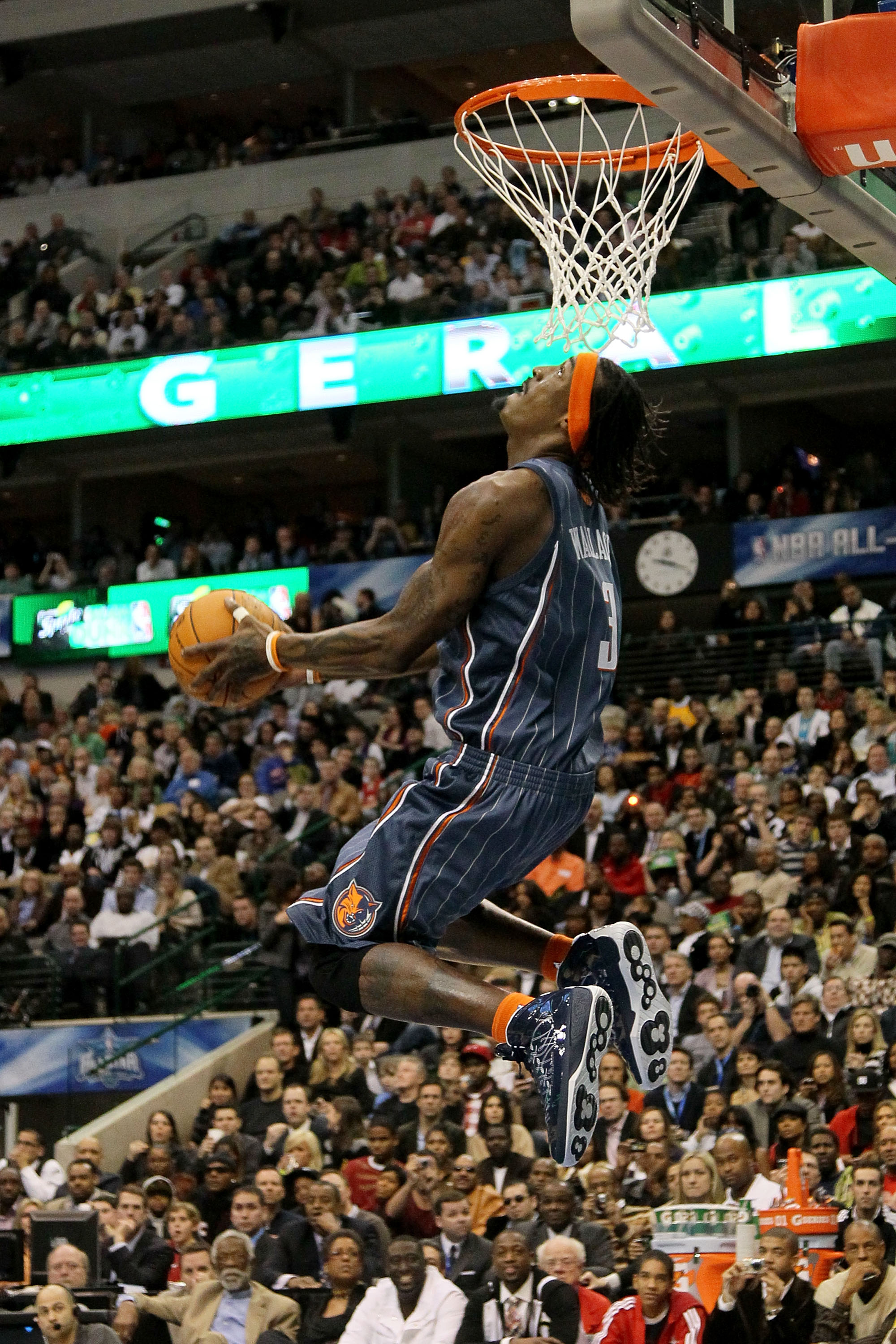 DALLAS - FEBRUARY 13:  Gerald Wallace #3 of the Charlotte Bobcats attempts a dunk during the Sprite Slam Dunk Contest on All-Star Saturday Night, part of 2010 NBA All-Star Weekend at American Airlines Center on February 13, 2010 in Dallas, Texas. NOTE TO