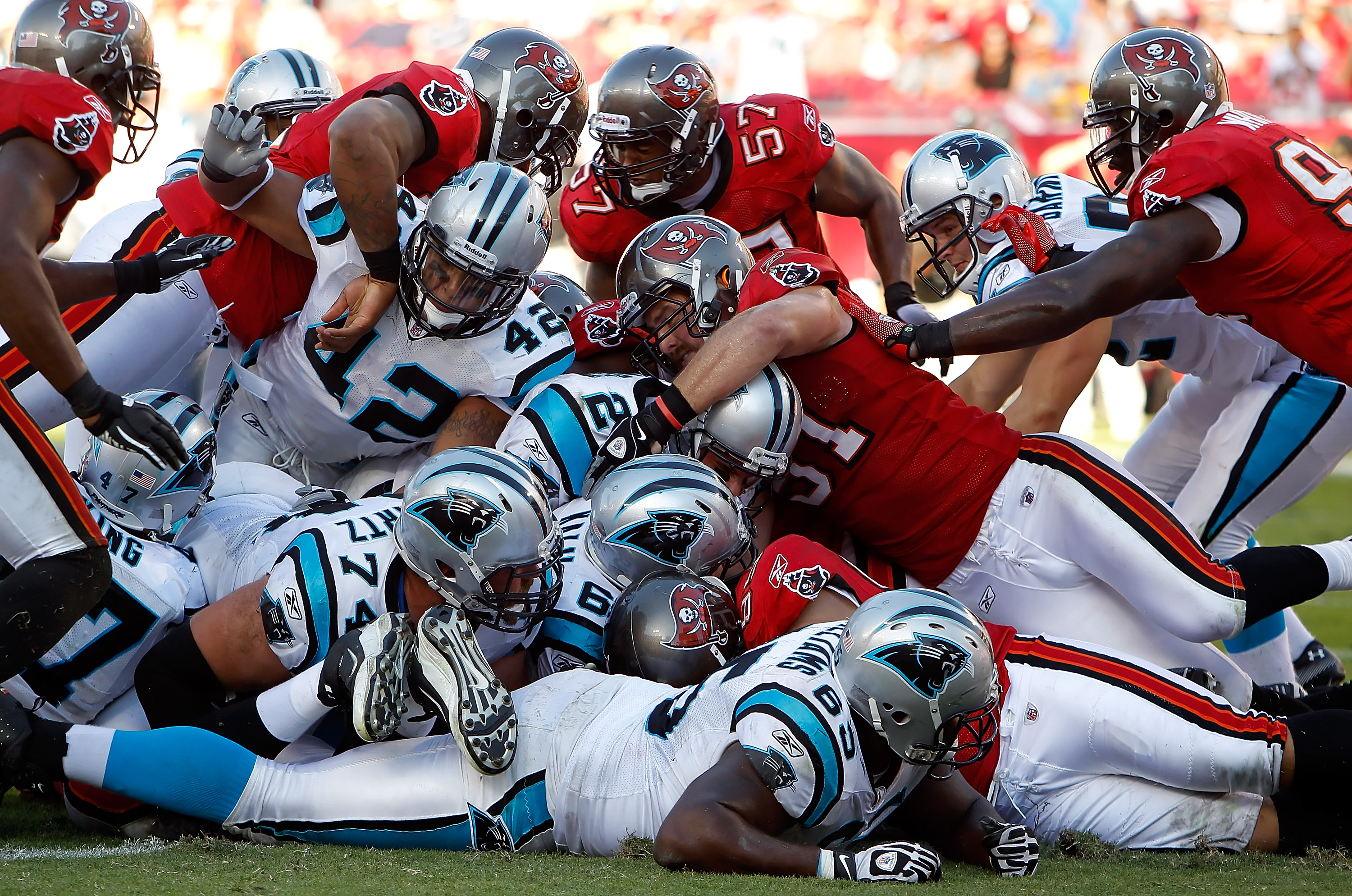 TAMPA, FL - NOVEMBER 14:  Quarterback Jimmy Clausen #2 of the Carolina Panthers is stopped short of the goal line by the Tampa Bay Buccaneers defense during the game at Raymond James Stadium on November 14, 2010 in Tampa, Florida.  (Photo by J. Meric/Gett
