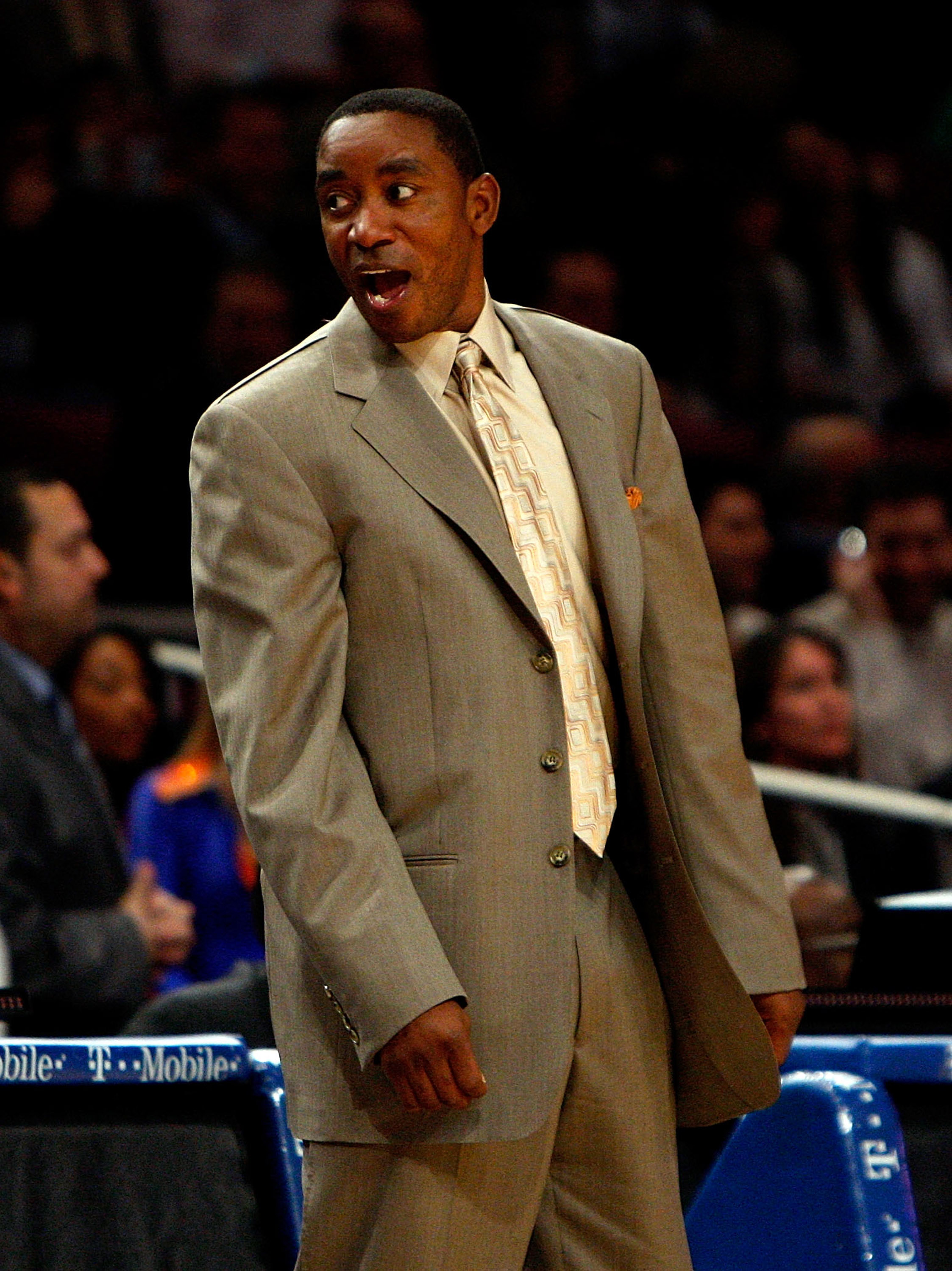 NEW YORK - MARCH 24: Head coach of the New York Knicks Isiah Thomas reacts to a call on the sideline against the New Jersey Nets on March 24, 2008 at Madison Square Garden in New York City. NOTE TO USER: User expressly acknowledges and agrees that, by dow