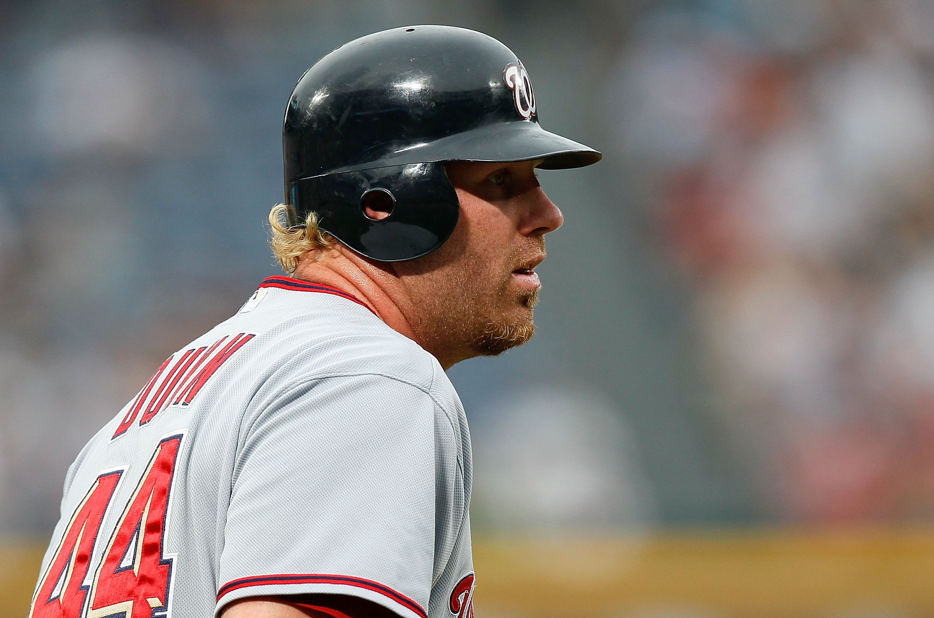 ATLANTA - JUNE 30:  Adam Dunn #44 of the Washington Nationals against the Atlanta Braves at Turner Field on June 30, 2010 in Atlanta, Georgia.  (Photo by Kevin C. Cox/Getty Images)