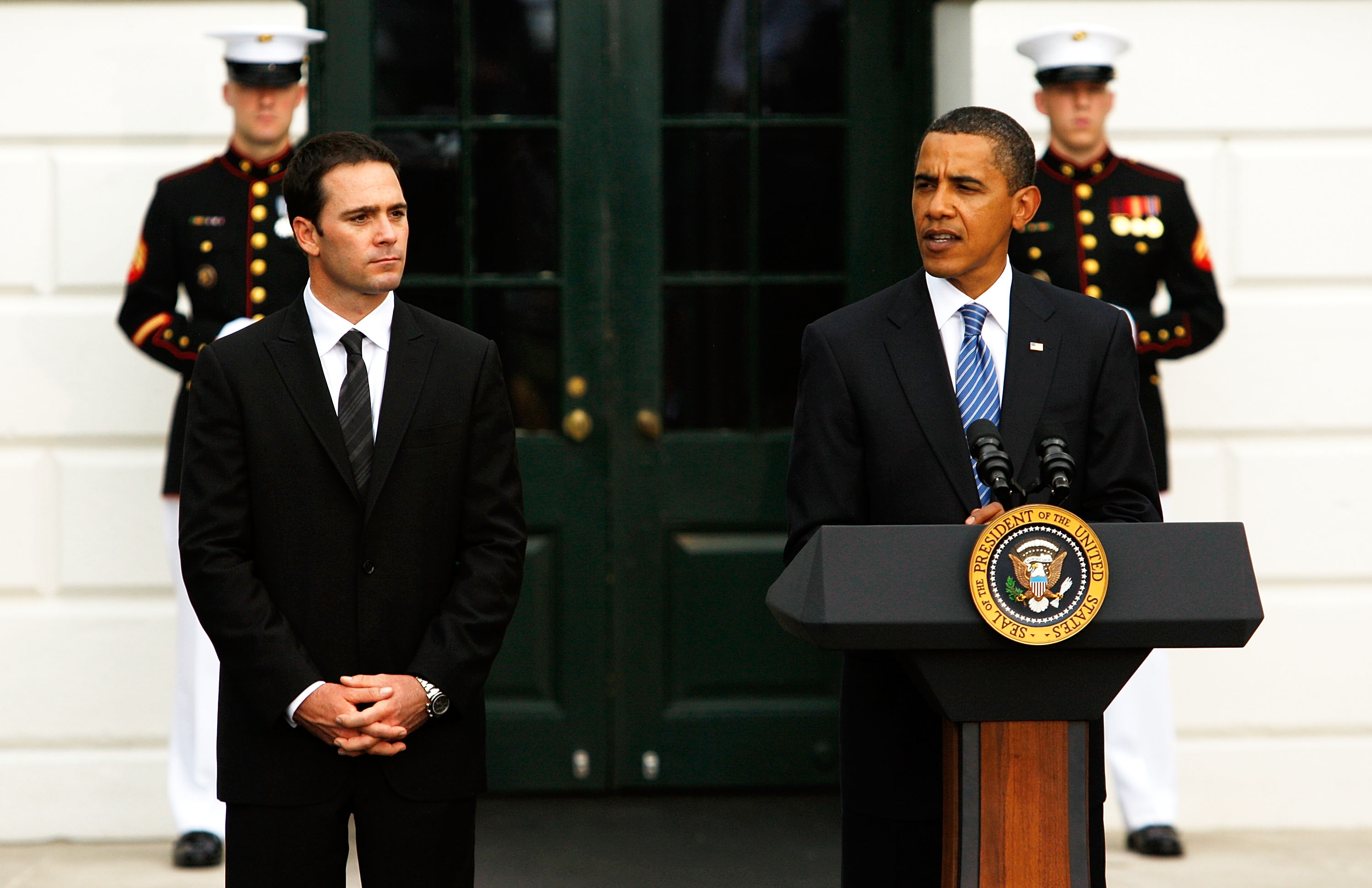 Jimmie Johnson knows pressure and his four straight NASCAR titles earned praise from President Obama.