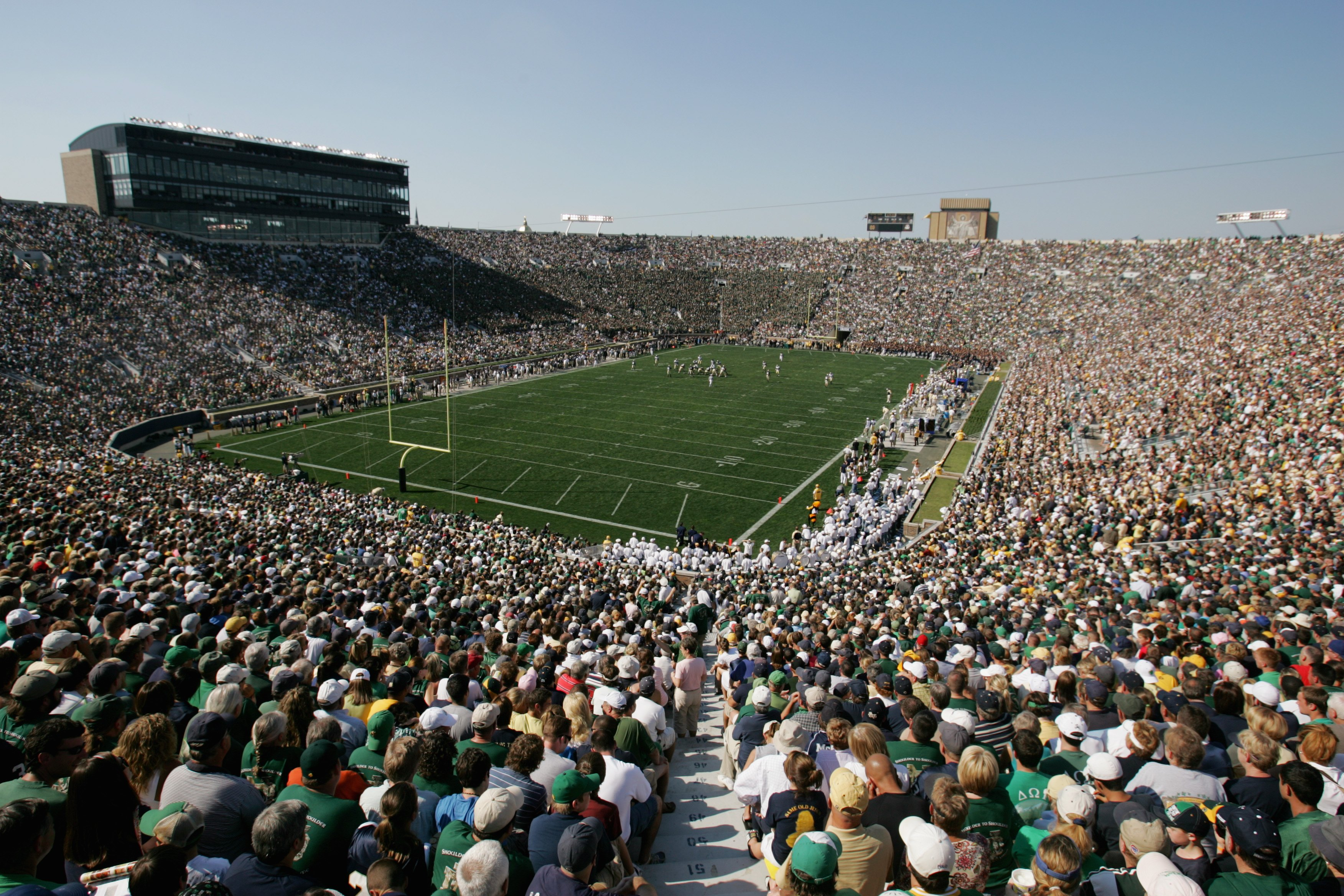 SOUTH BEND, IN - SEPTEMBER 01:  General view of the Notre Dame campus during the game between the Notre Dame Fighting Irish and the Georgia Tech Yellow Jackets on September 1, 2007 at Notre Dame Stadium in South Bend, Indiana. (Photo by Jonathan Daniel/Ge