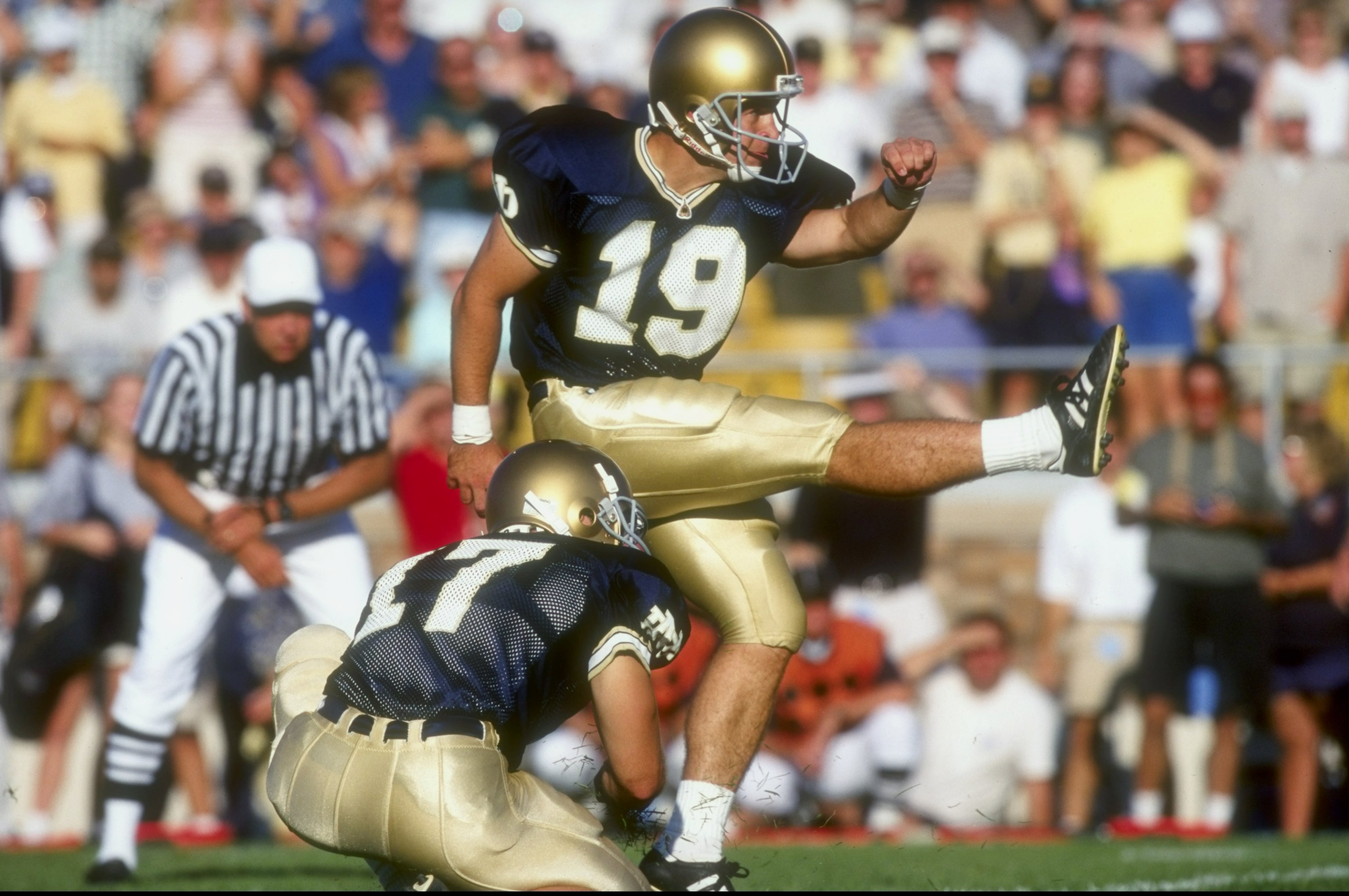 5 Sep 1998:  Place kicker Jim Sanson #19 of the Notre Dame Fighting Irish in action during a game against the Michigan Wolverines at the Notre Dame Stadium in South Bend, Indiana. The Fighting Irish defeated the Wolverines 36-20.