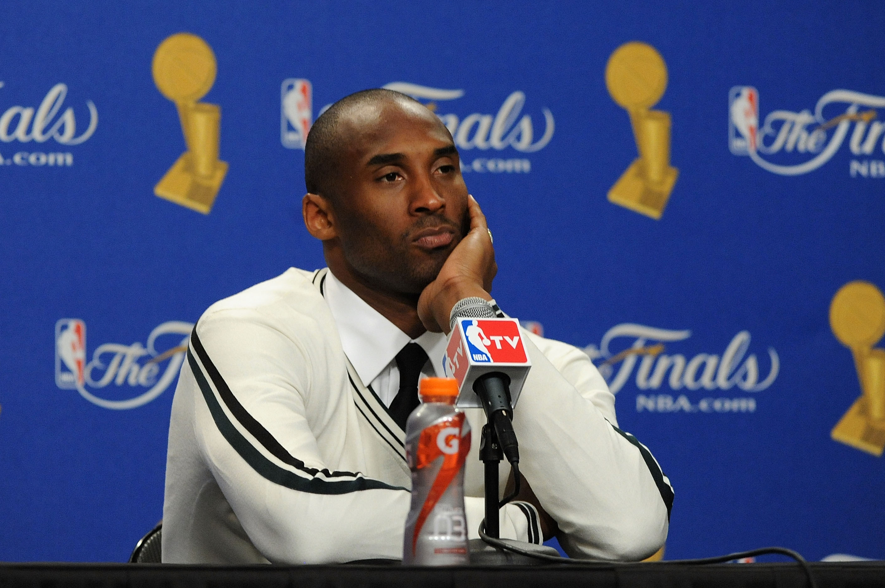 LOS ANGELES, CA - JUNE 06:  Kobe Bryant #24 of the Los Angeles Lakers reacts as he anwers questions from the media durinng the post game press conference after the Lakers lost 103-94 against the Boston Celtics in Game Two of the 2010 NBA Finals at Staples