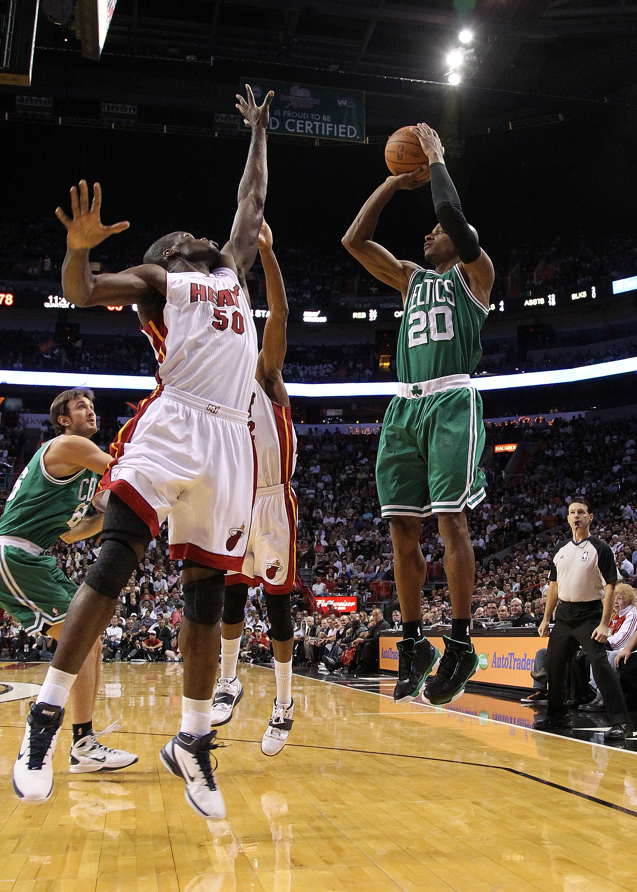 MIAMI - NOVEMBER 11: Ray Allen #20 of the Boston Celtics shoots a jump shot during a game against the Miami Heat at American Airlines Arena on November 11, 2010 in Miami, Florida. NOTE TO USER: User expressly acknowledges and agrees that, by downloading a