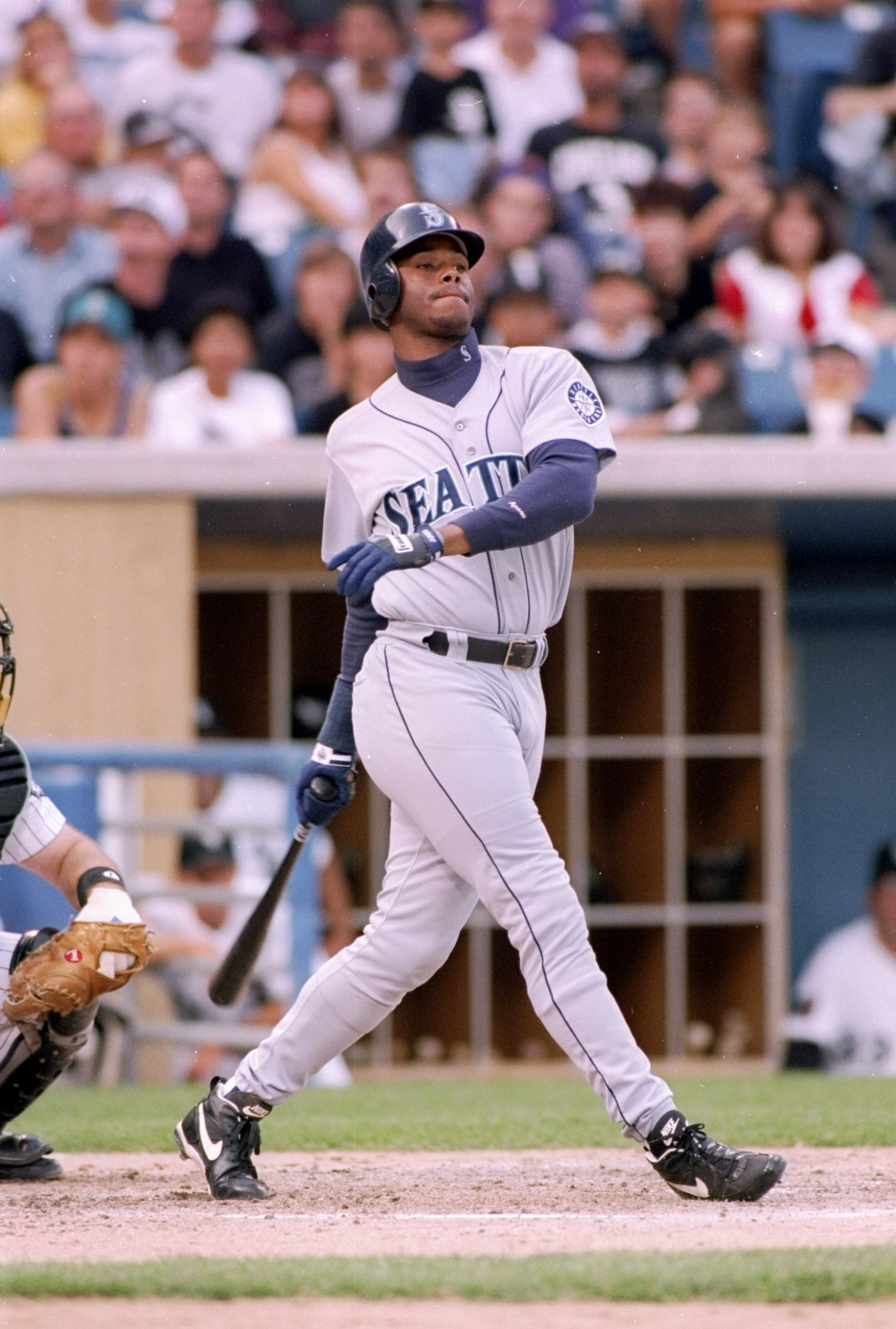 30 Jul 1994:  Outfielder Ken Griffey Jr. of the Seattle Mariners in action during a game against the Chicago White Sox at Comiskey Park in Chicago, Illinois.  The White Sox won the game 4-2. Mandatory Credit: Jonathan Daniel  /Allsport