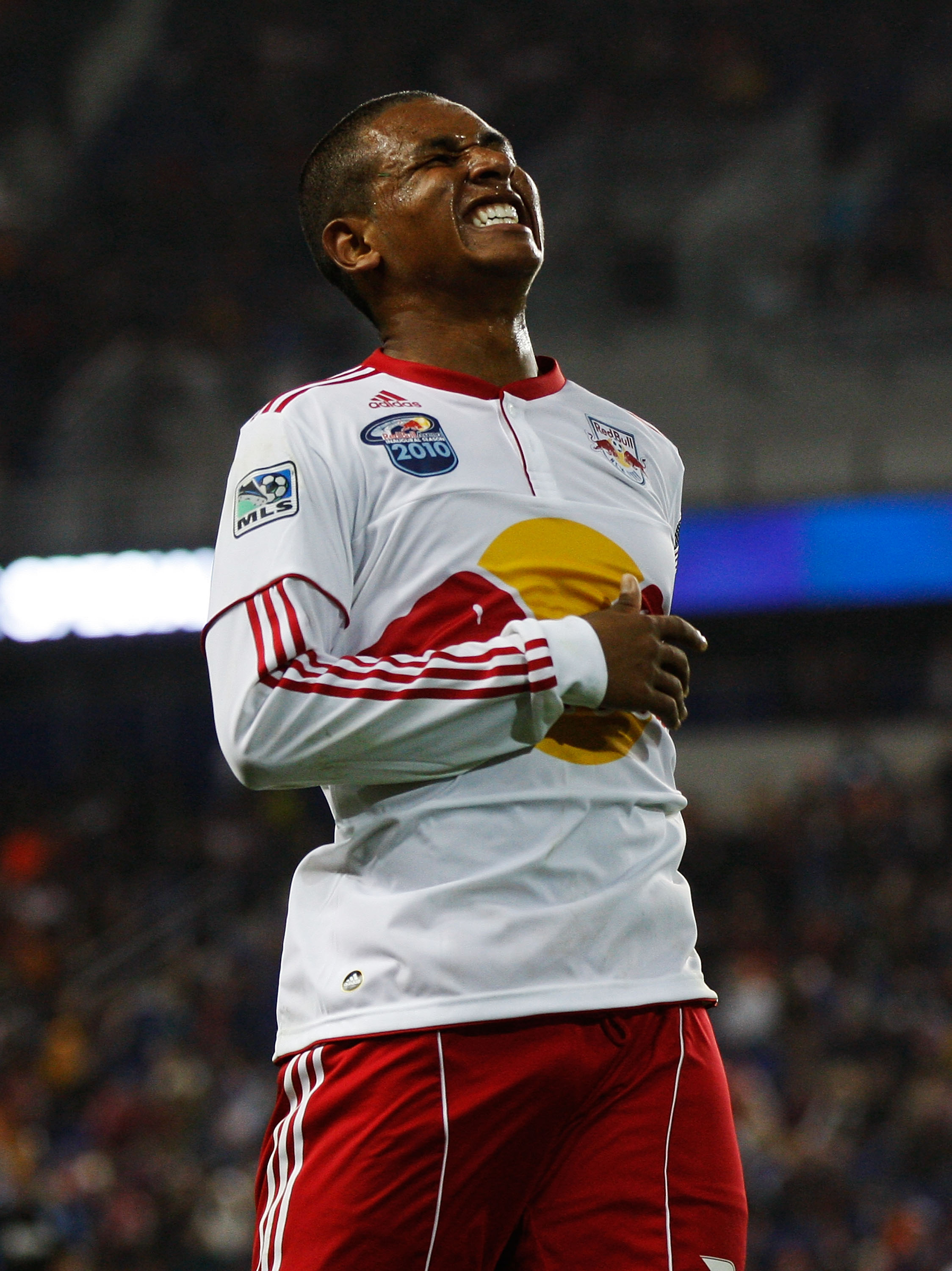 HARRISON, NJ - NOVEMBER 04:  Juan Agudelo #39 of the New York Red Bulls reacts after a missed scoring change against the San Jose Earthquakes during the 2nd Leg of the MLS playoffs on November 4, 2010 at Red Bull Arena in Harrison, New Jersey.  (Photo by