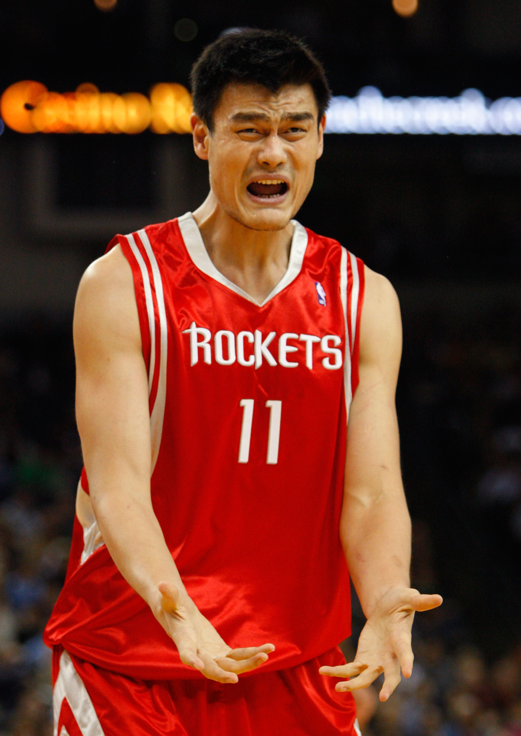 OAKLAND, CA - NOVEMBER 29:  Yao Ming #11 of the Houston Rockets reacts to a call during the first half against the Golden State Warriors  November 29, 2007 at the Oracle Arena in Oakland, California.  (Photo by Justin Sullivan/Getty Images)
