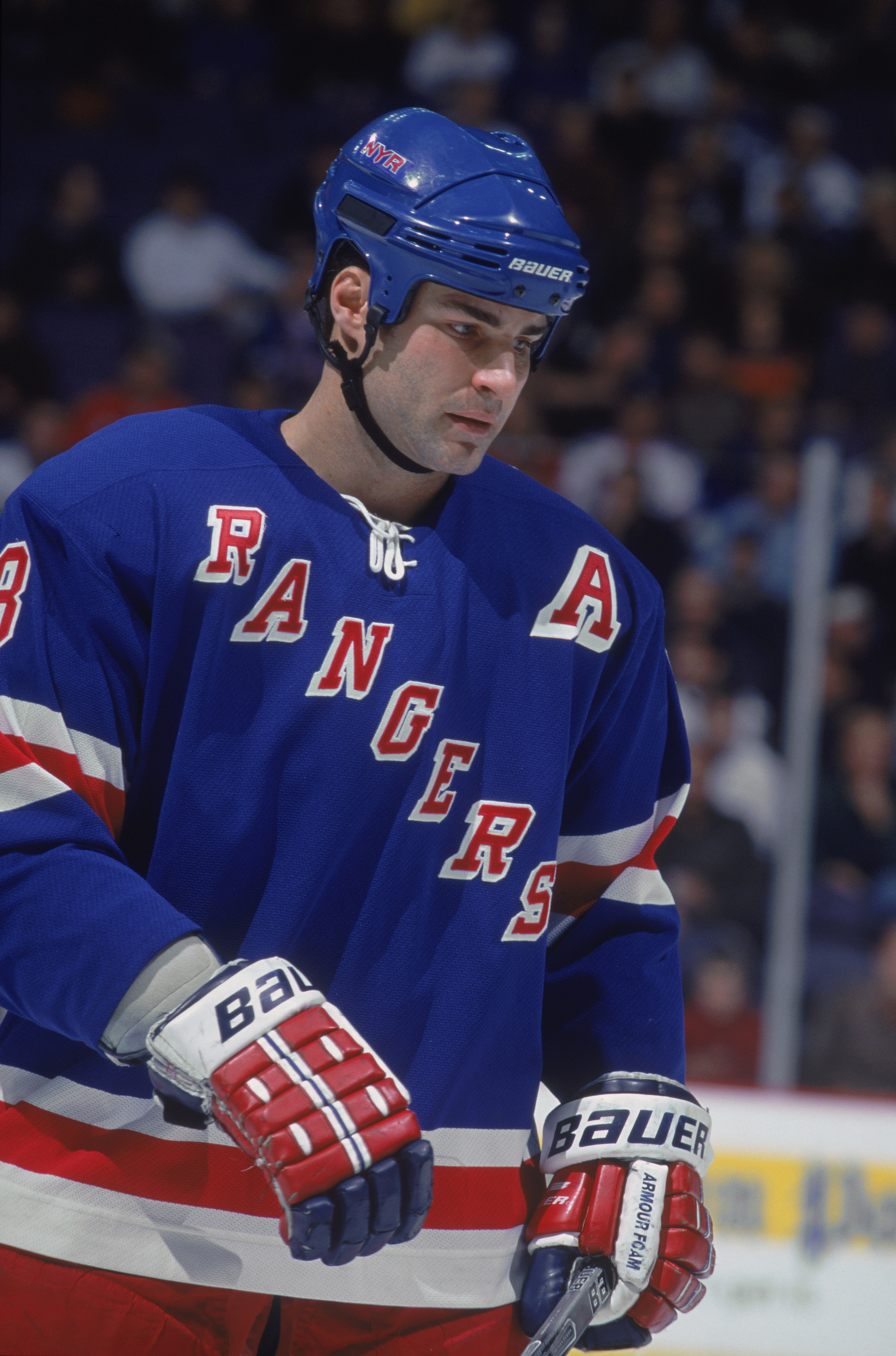4 Jan 2001:  This is a portrait of center Eric Lindros #88 of the New York Rangers. It was taken during the NHL game against the Washingon Capitals at the MCI Center in Washington, DC.  The Capitals defeated the Rangers 5-2.  Mandatory copyright notice: C