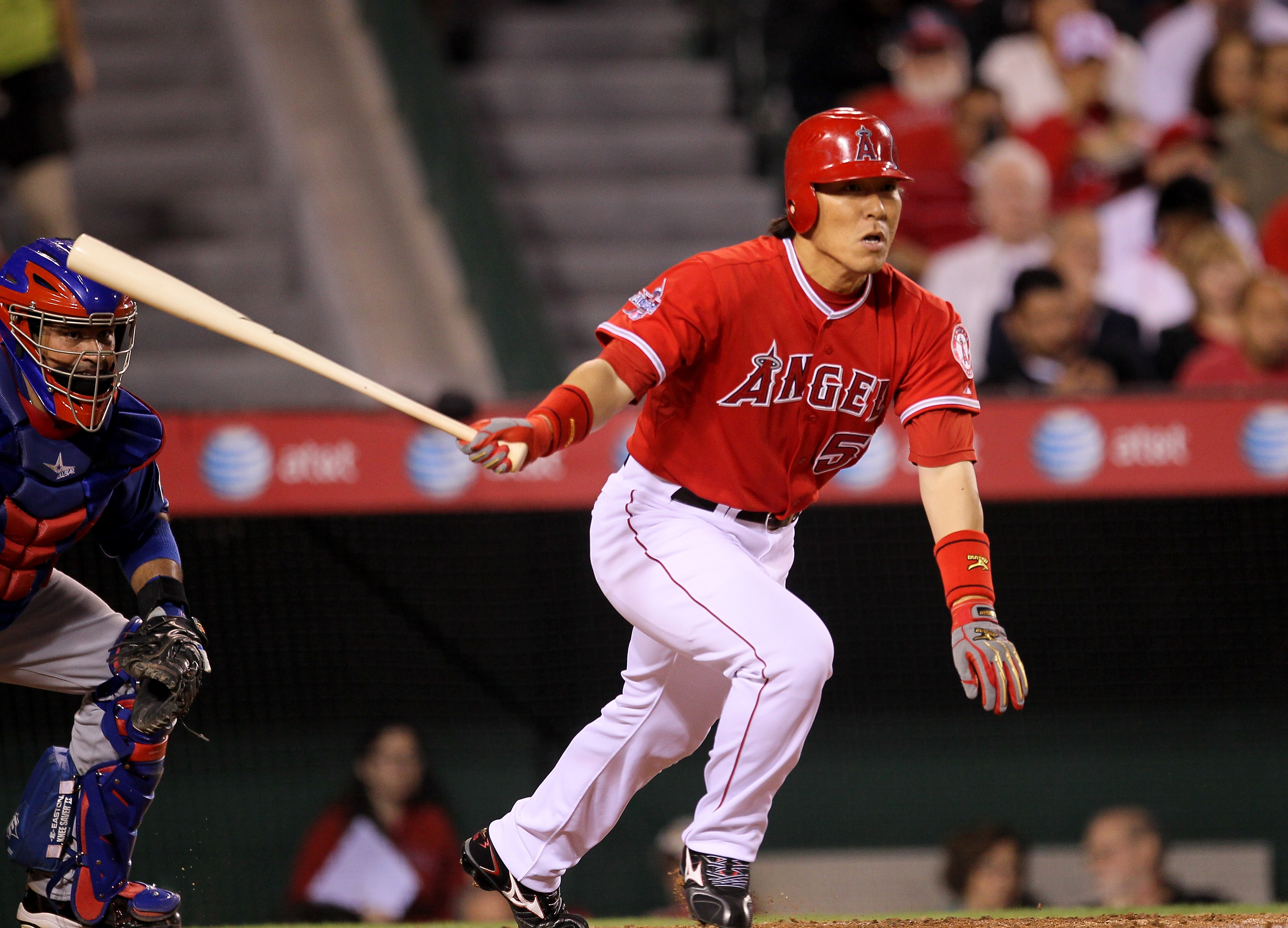 ANAHEIM, CA - SEPTEMBER 21:  Hideki Matsui #55 of the Los Angeles Angels of Anaheim hits a leadoff double in the fourth inning against the Texas Rangers on September 21, 2010 at Angel Stadium in Anaheim, California.  (Photo by Stephen Dunn/Getty Images)