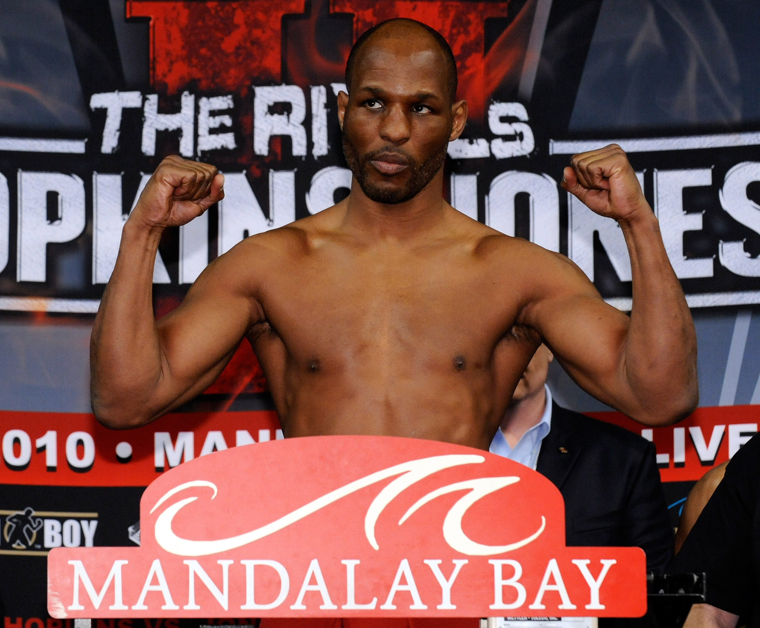 LAS VEGAS - APRIL 02:  Boxer Bernard Hopkins poses on the scale during the official weigh-in for his bout against Roy Jones Jr. at the Mandalay Bay Events Center April 2, 2010 in Las Vegas, Nevada. The two will meet in a light heavyweight bout on April 3